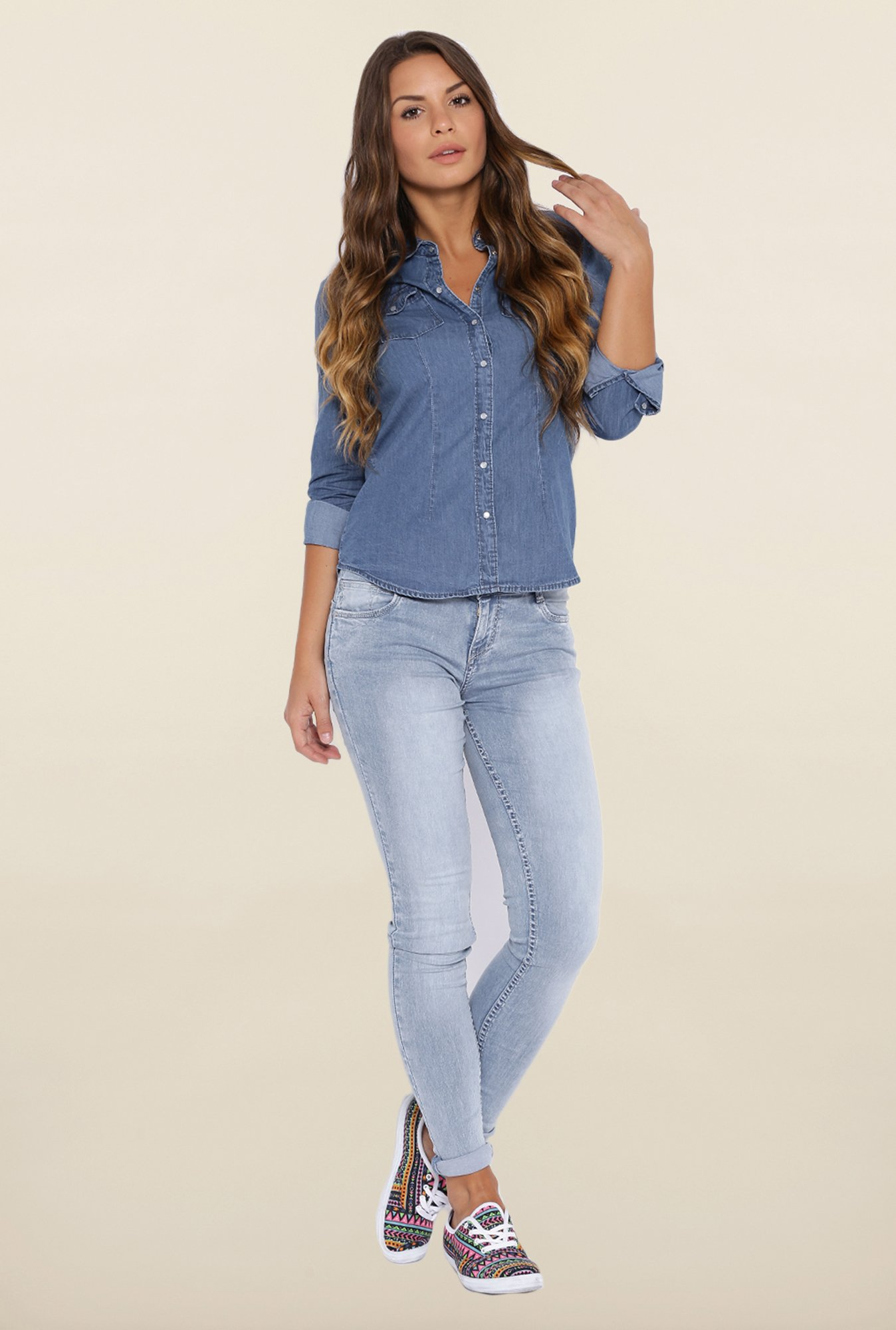 Kraus Light Blue Solid Jeans