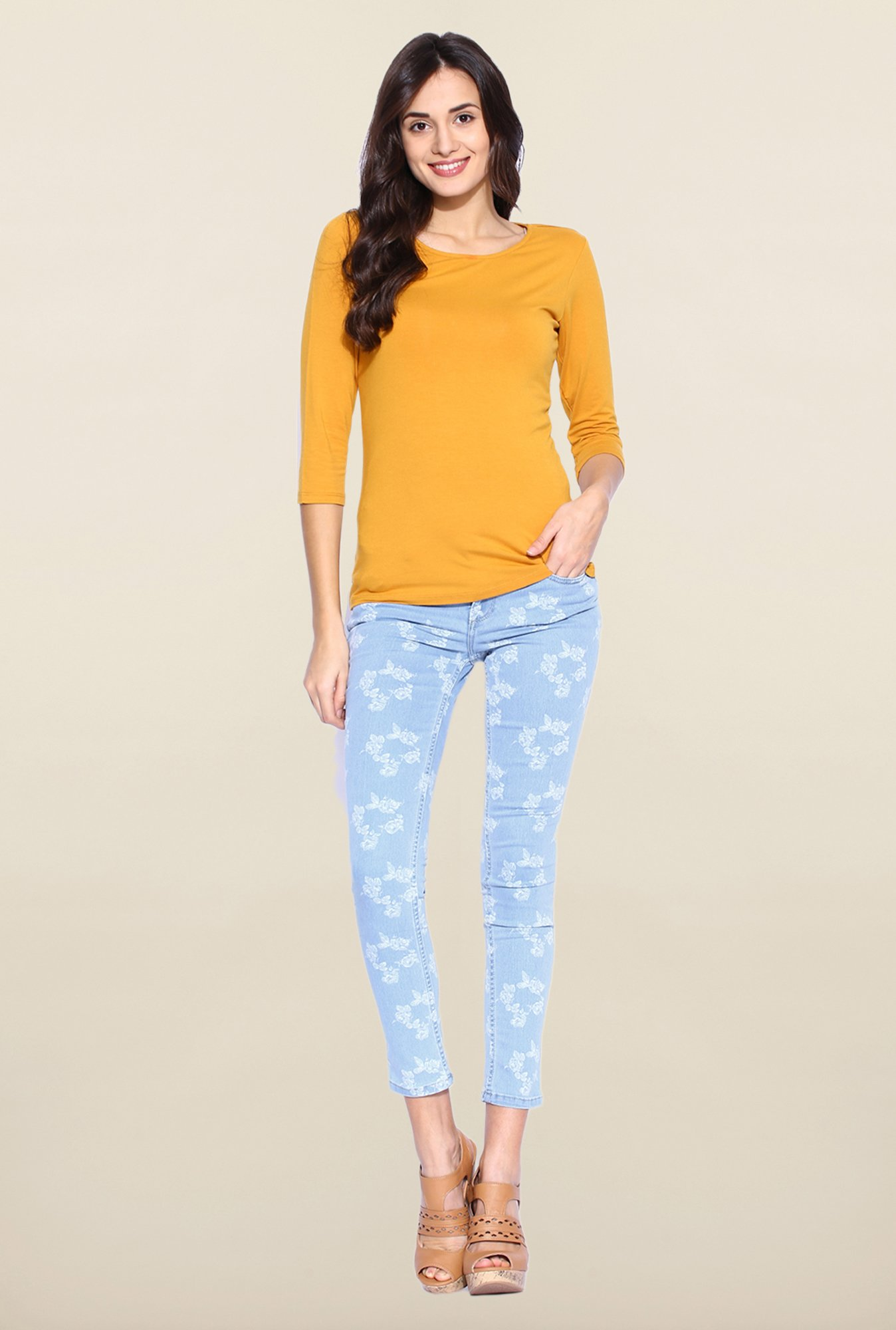 Kraus Light Blue Skinny Fit Printed Jeans