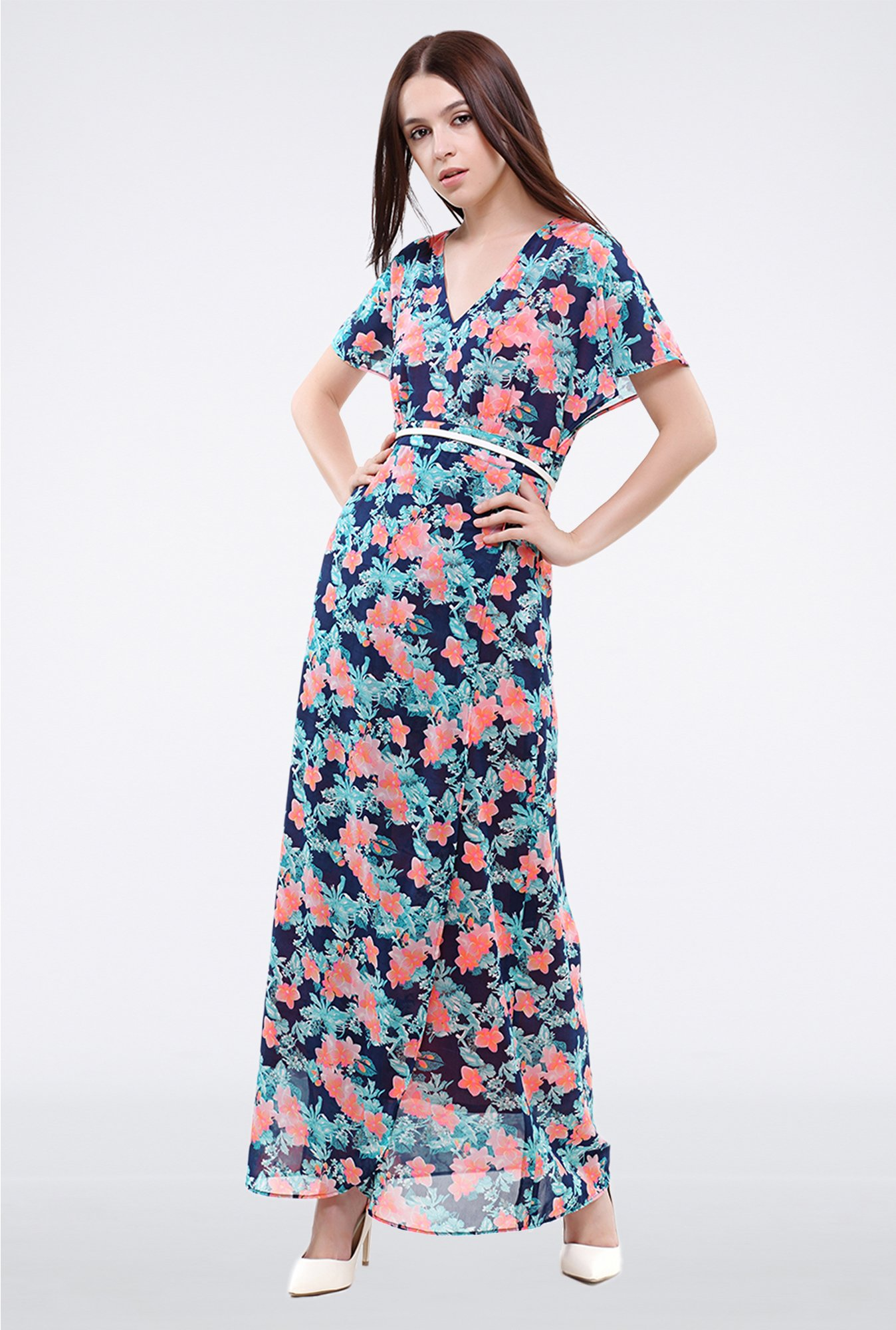 Femella Navy Floral Printed Maxi Dress