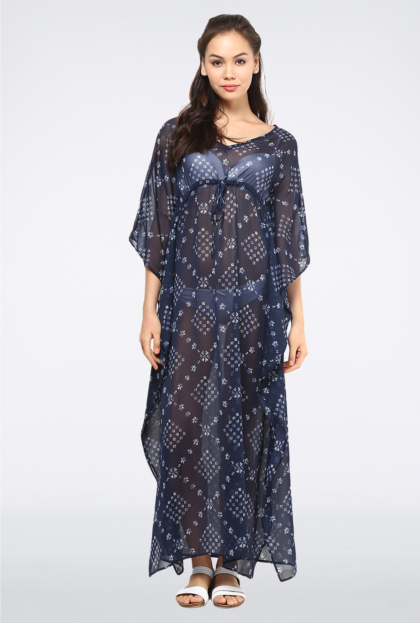 Femella Navy Kaftan Maxi Dress