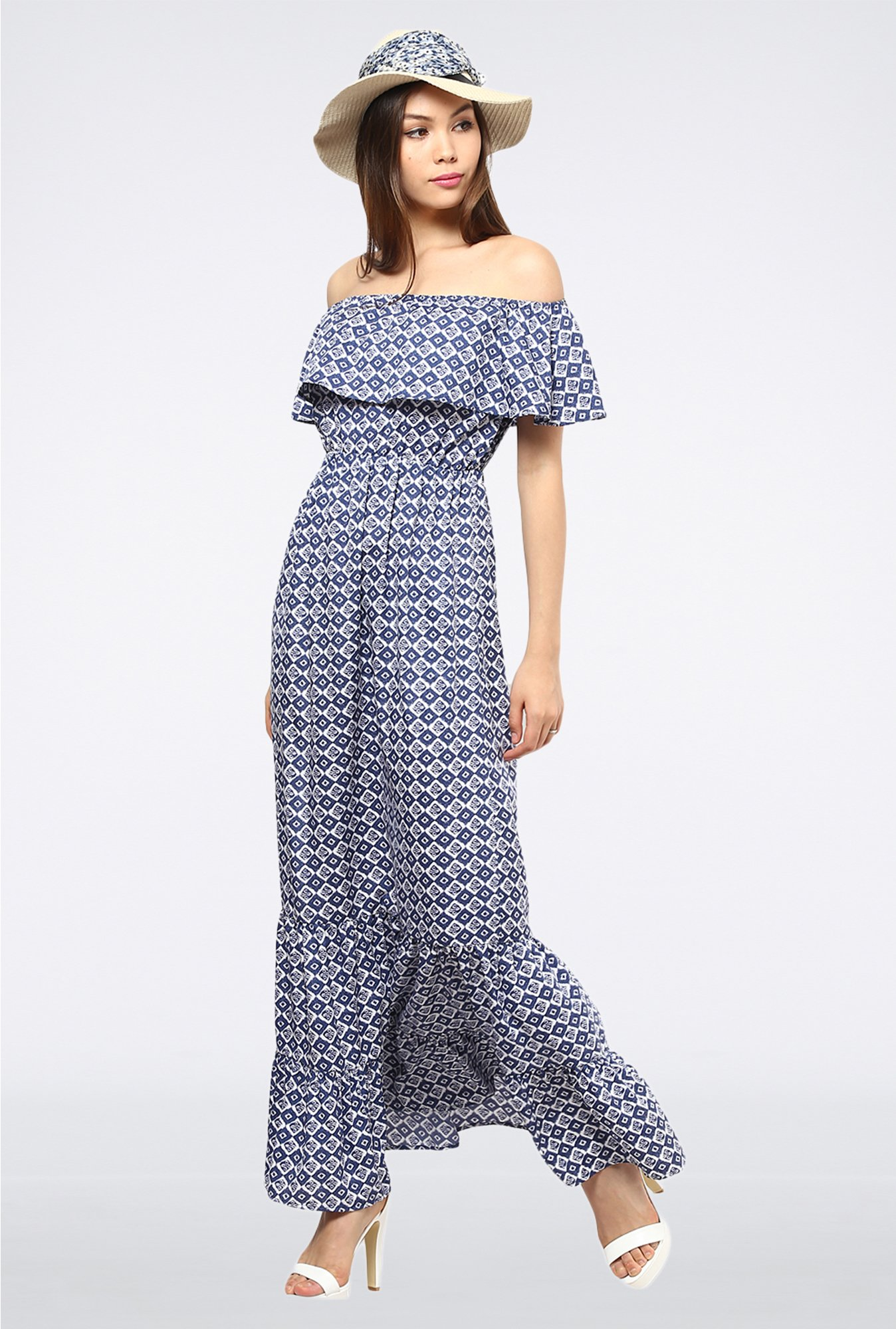 Femella Blue Off Shoulder Ruffle Maxi Dress