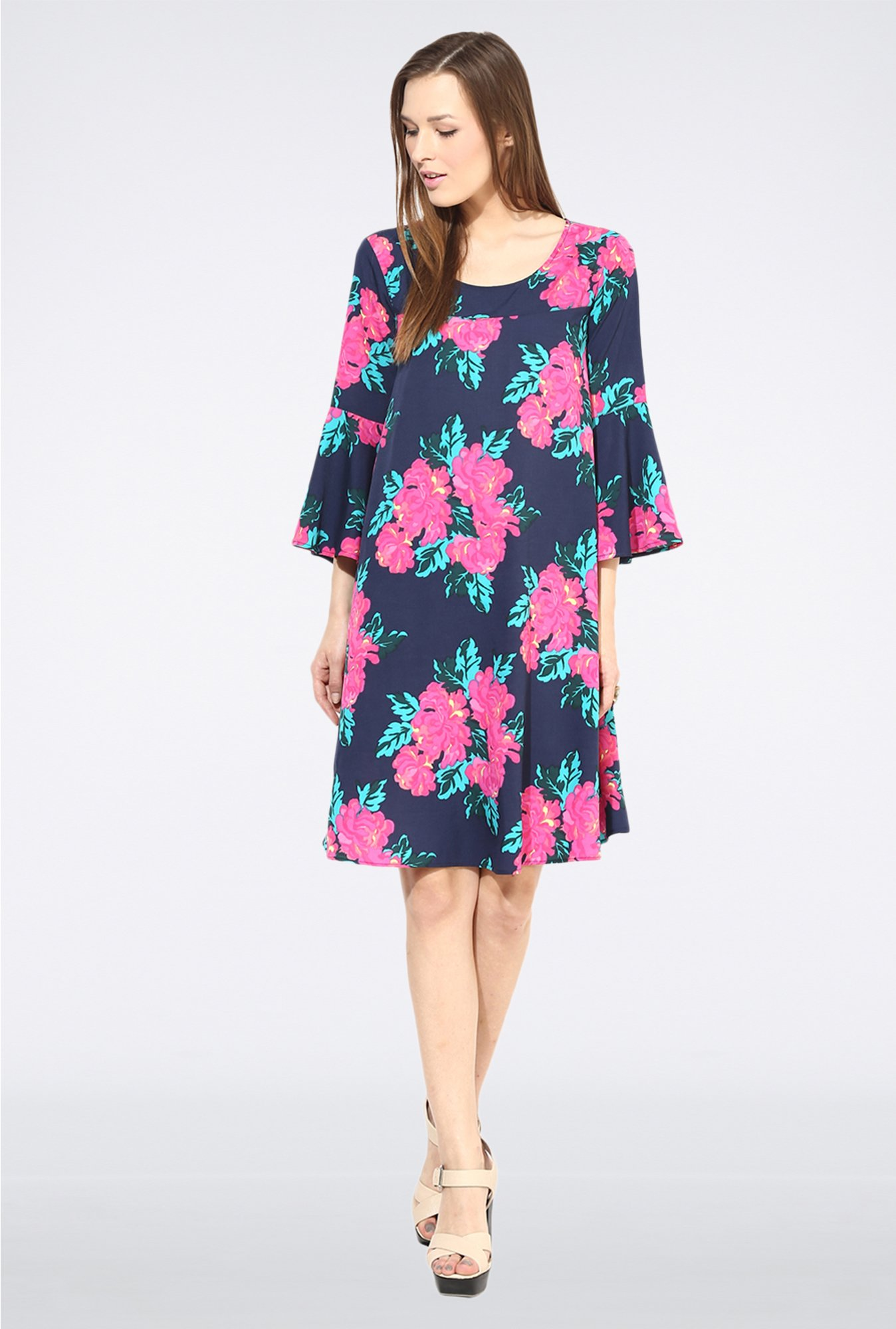 Femella Navy Floral Bell Casual Dress