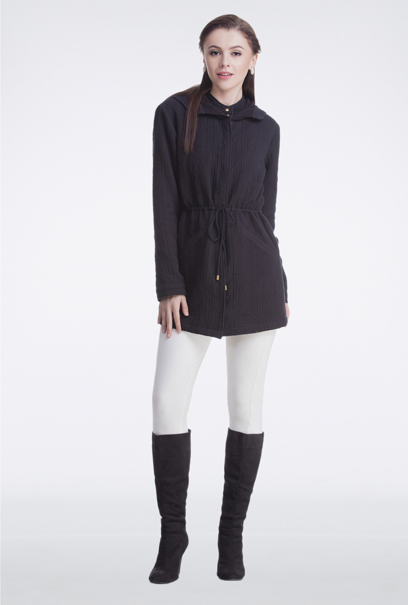 Femella Black Long Hooded Jacket