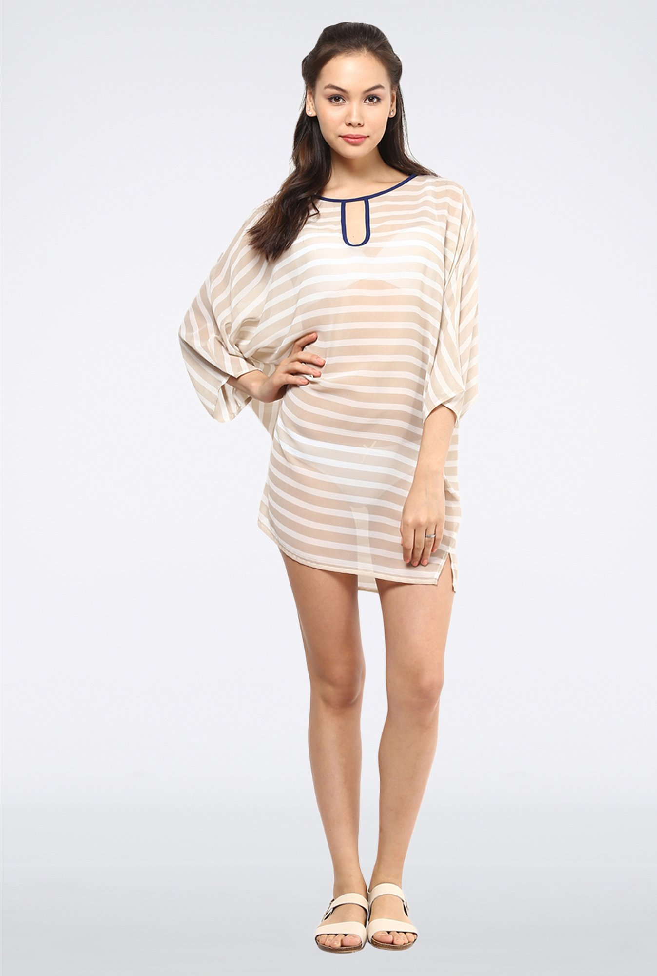 Femella Beige Striped Cover Up