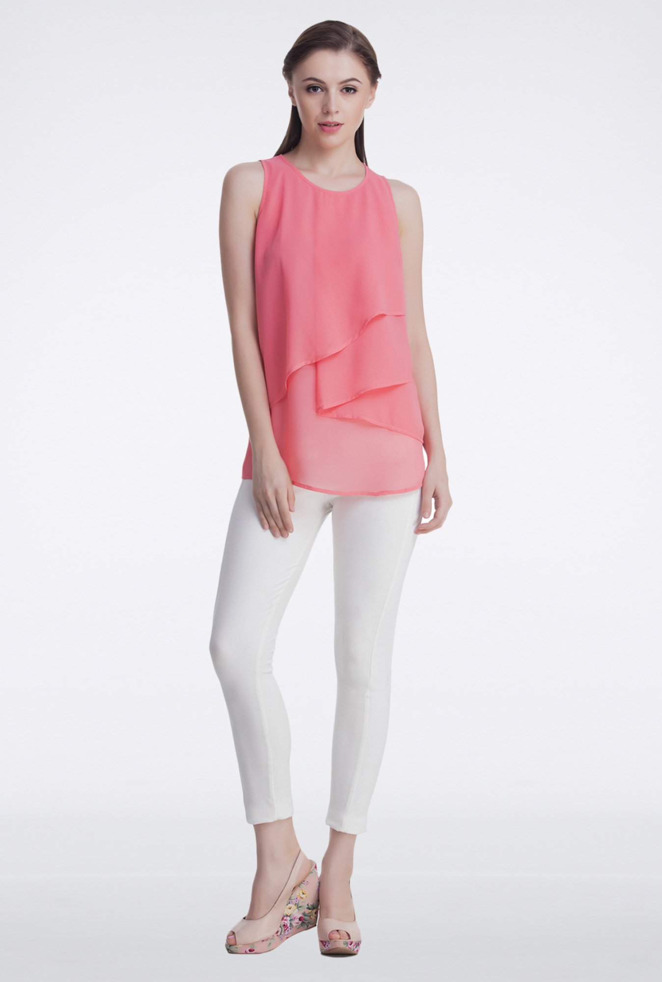 Femella Pink Sleeveless Tier Top