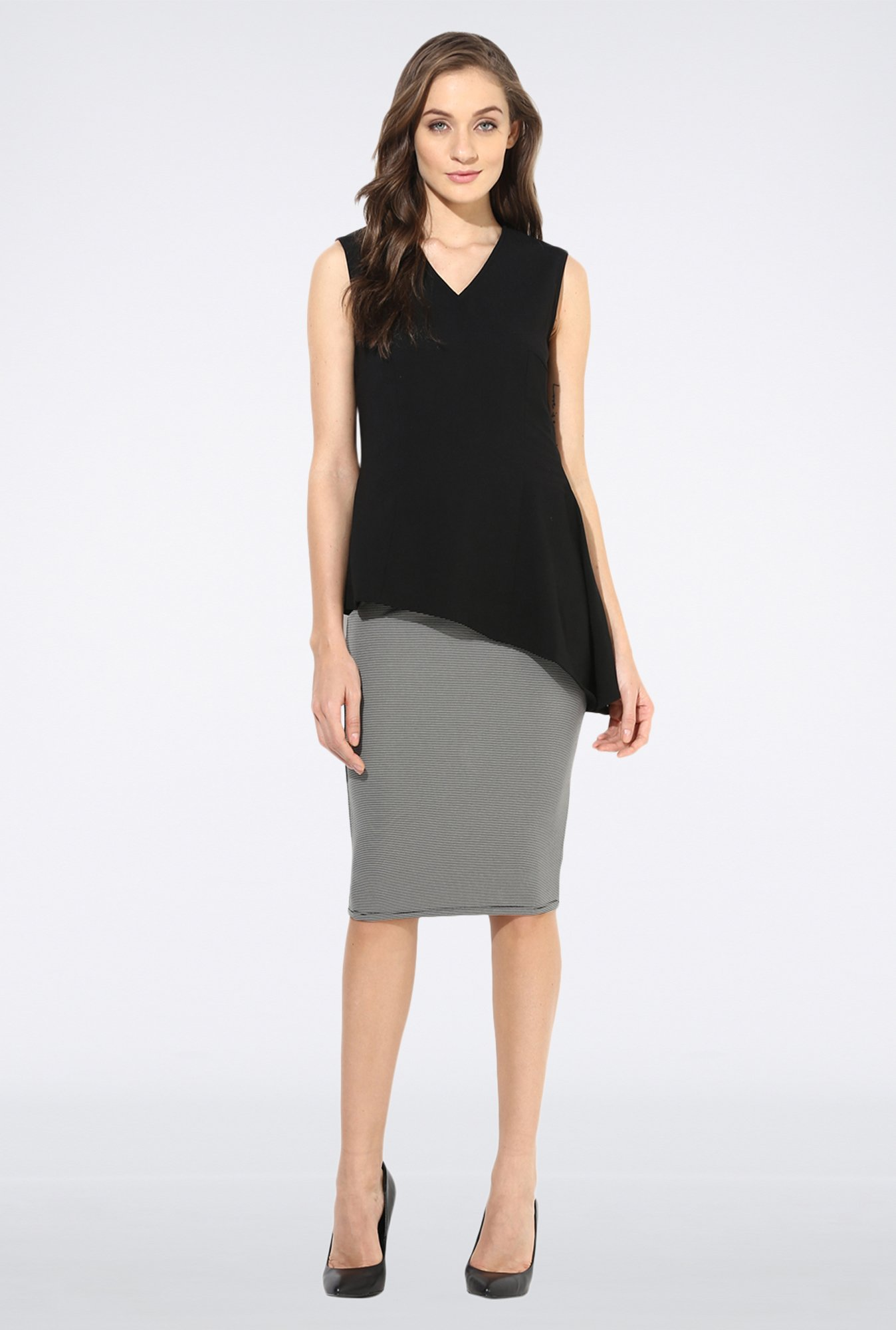 Femella Black Asymmetric Formal Top