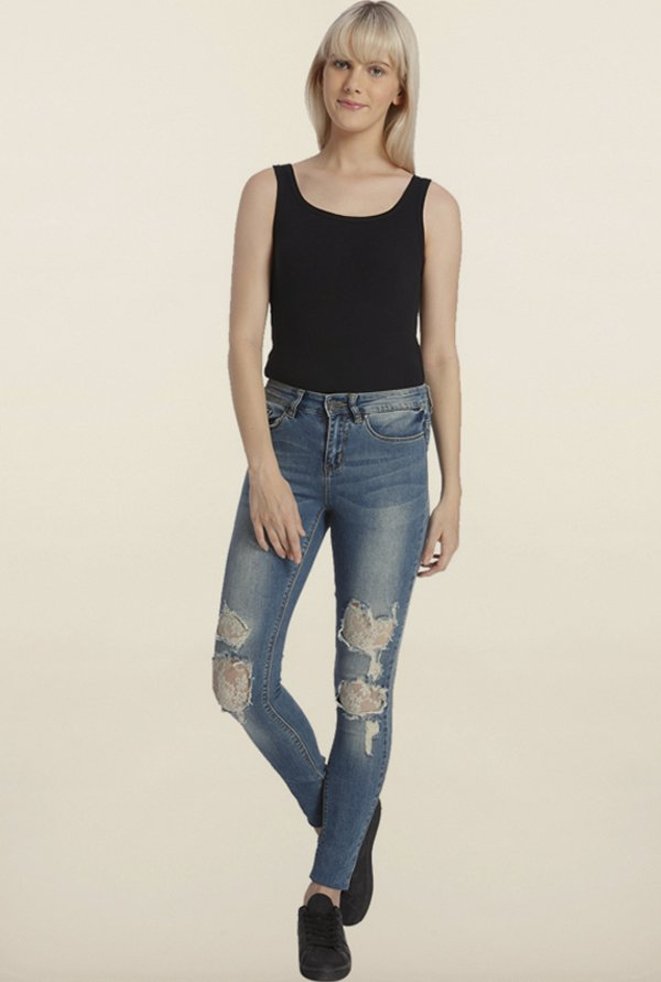 Vero Moda Blue Denim Ripped Jeans