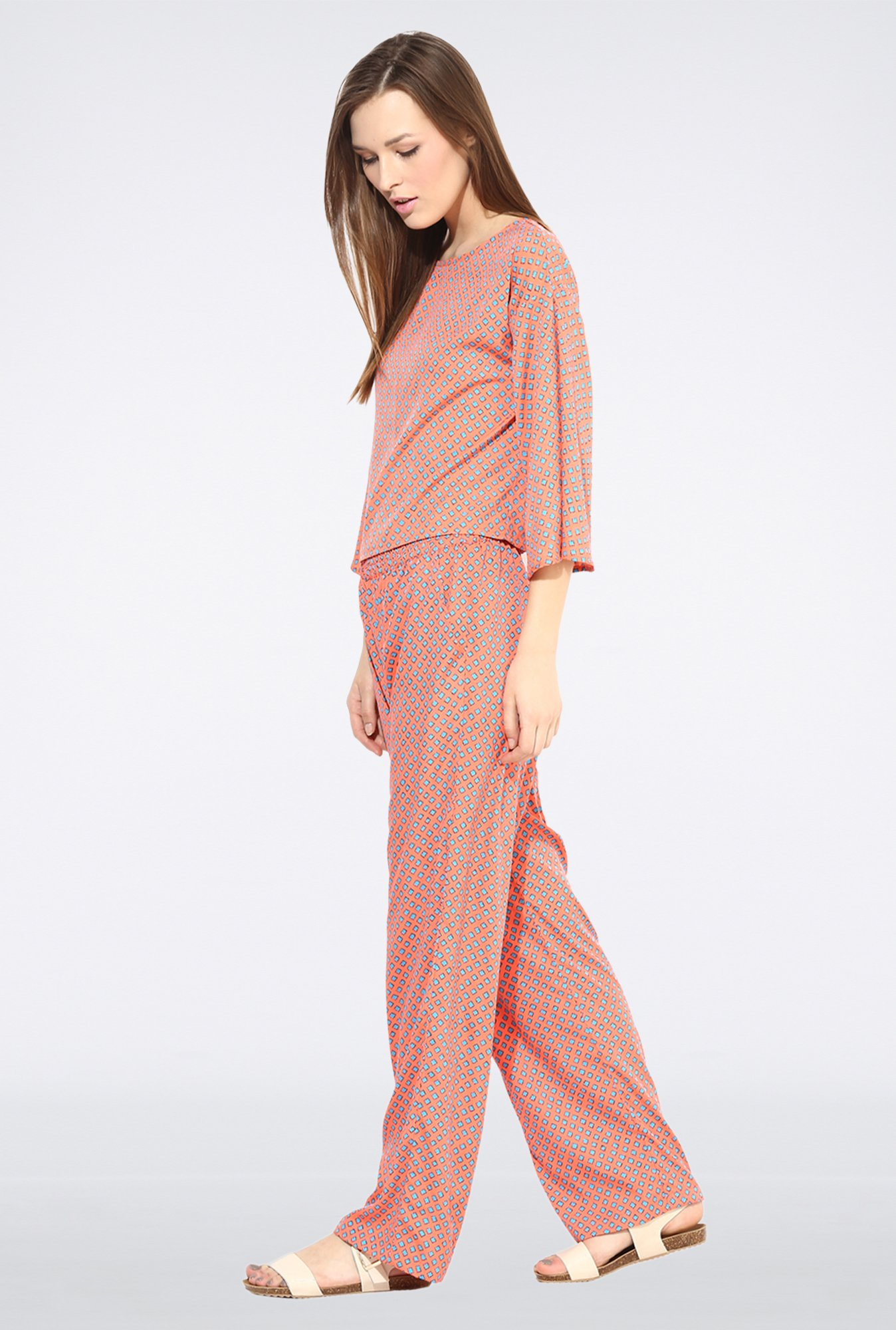 Femella Orange Straight Leg Printed Pyjama