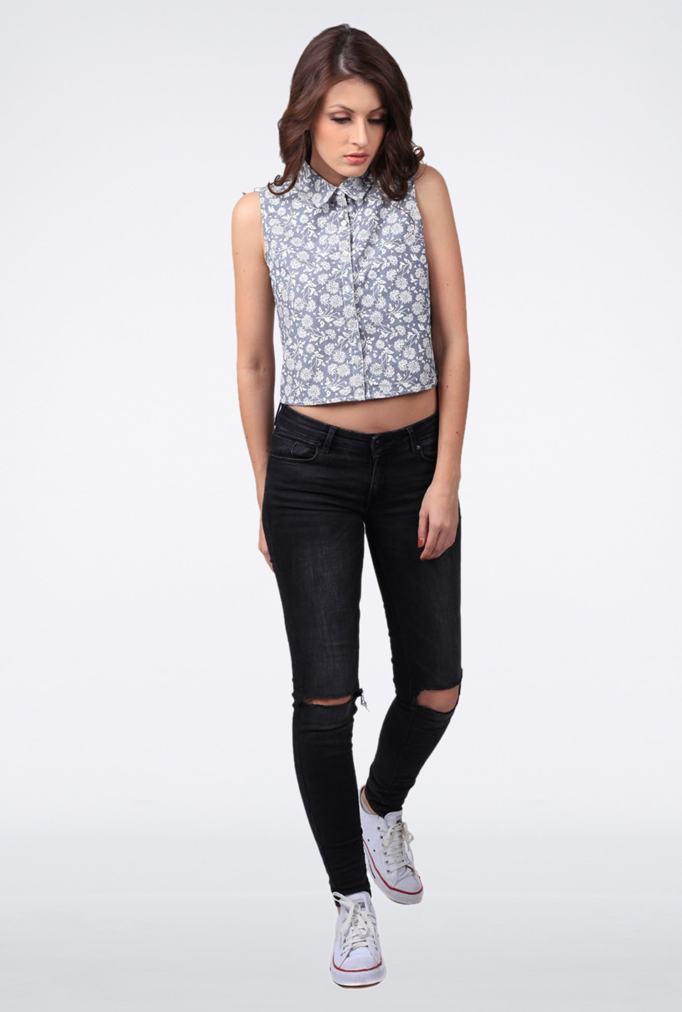 Femella Grey Chambray Crop Shirt