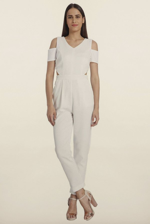 Vero Moda Snow White Solid Jumpsuit