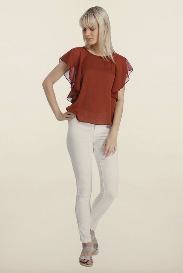 Vero Moda Brown Solid Top