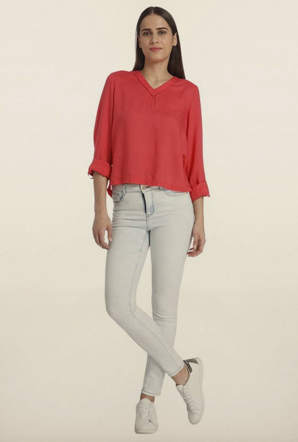 Vero Moda Rouge Red Button Back Top