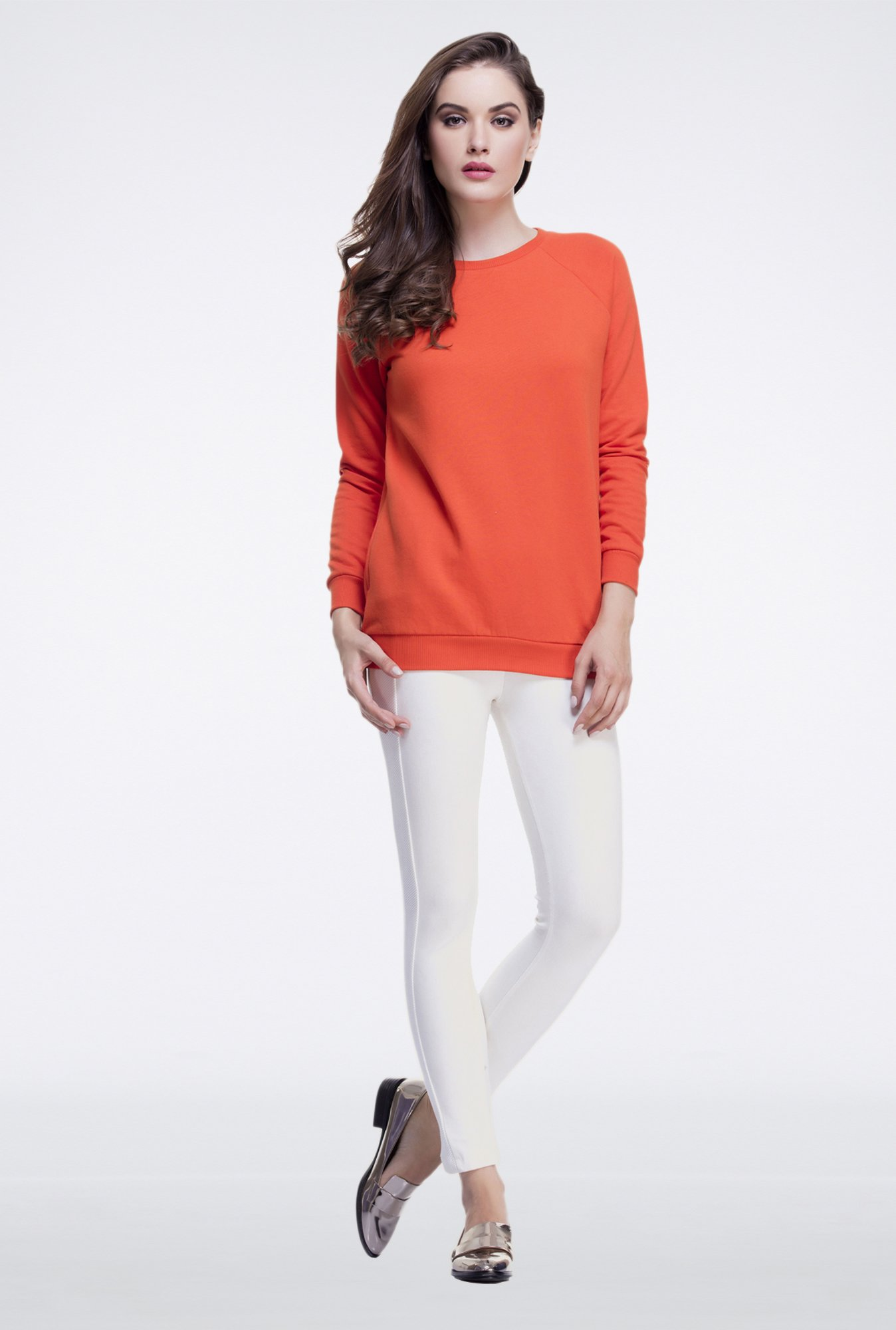 Femella Orange Oversized Sweatshirt