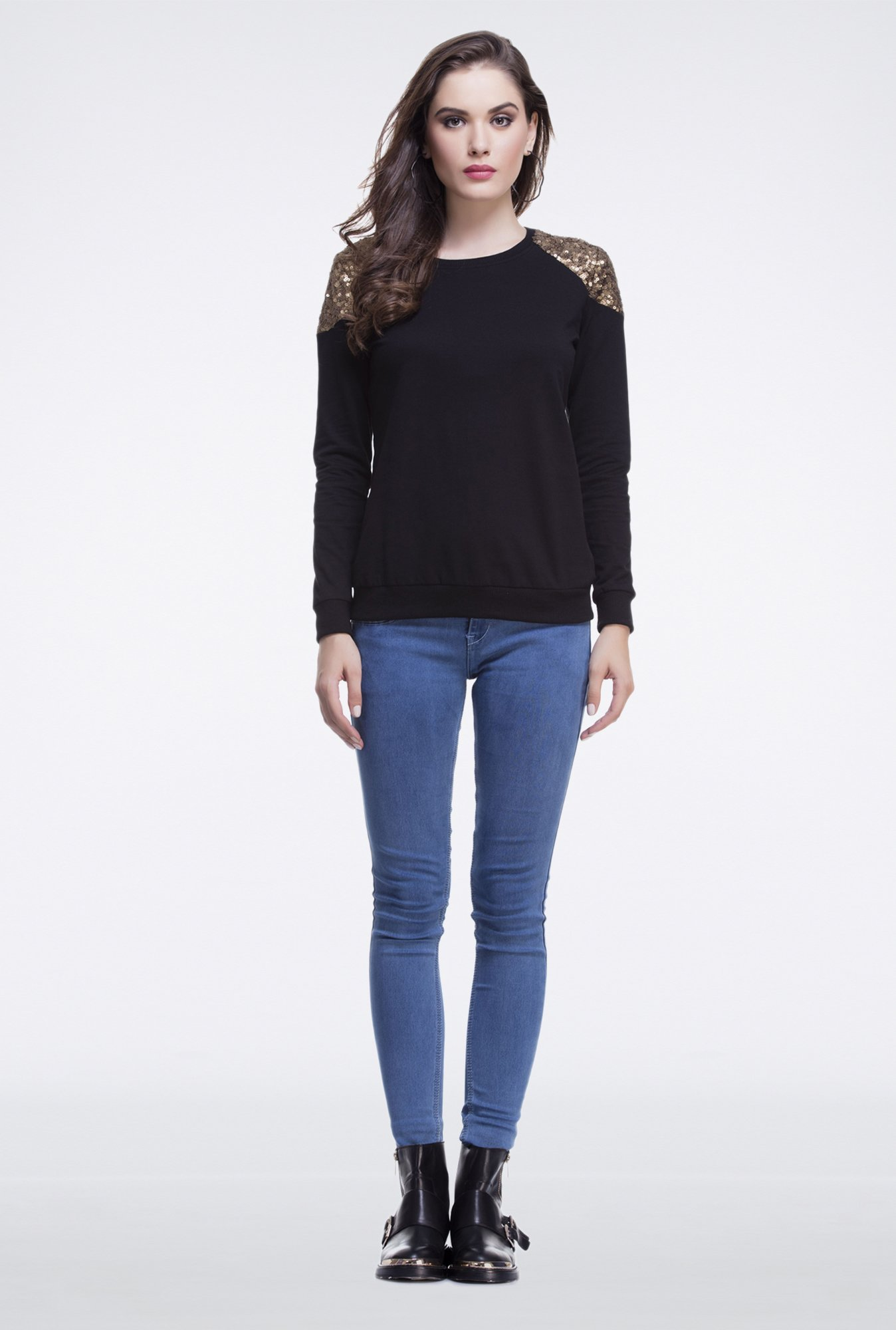Femella Black Shoulder Sequins Pullover