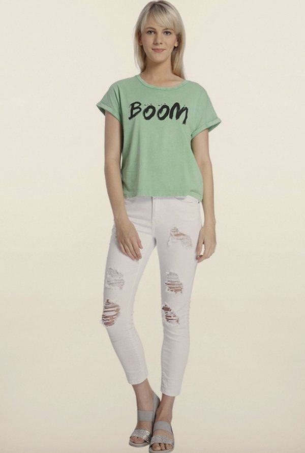 Vero Moda Green Printed T-Shirt