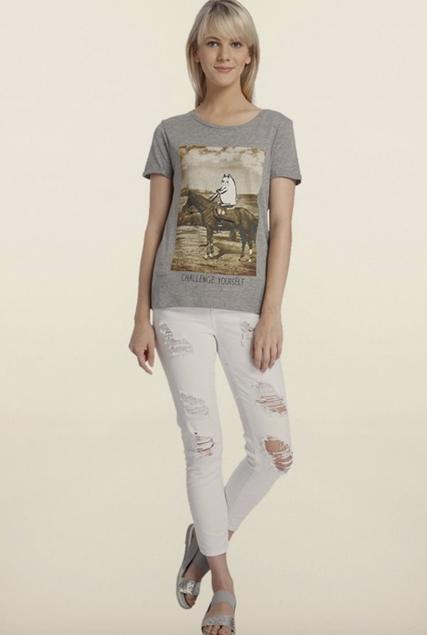Vero Moda Light Grey Printed T-Shirt