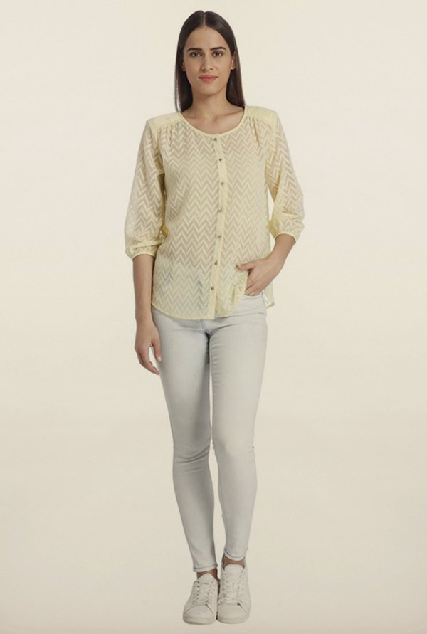 Vero Moda Lime Embroidered Casual Shirt