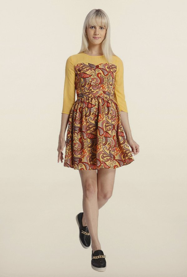 Vero Moda Yellow Skater Dress