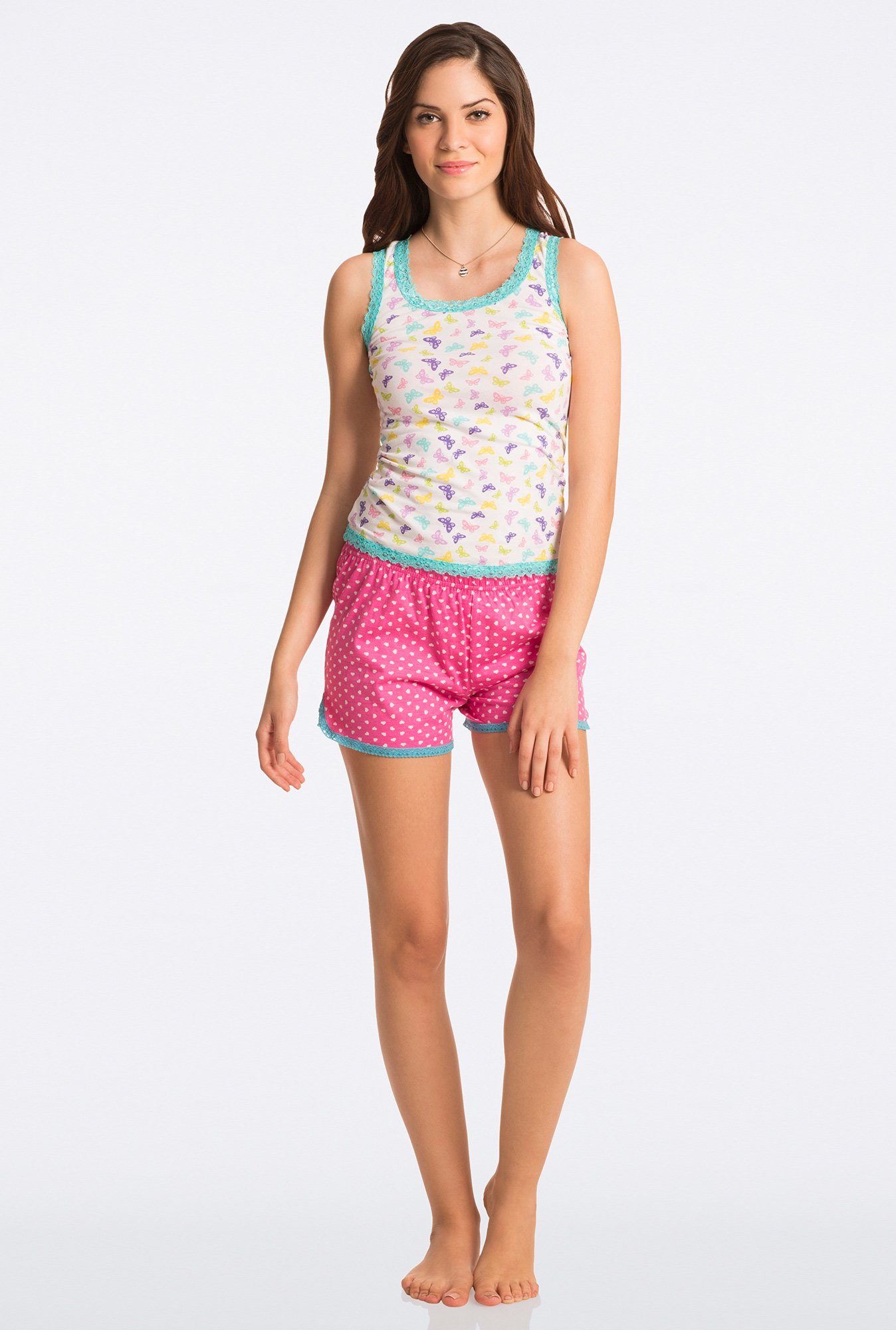 Pretty Secrets Pink Heart Print Shorts