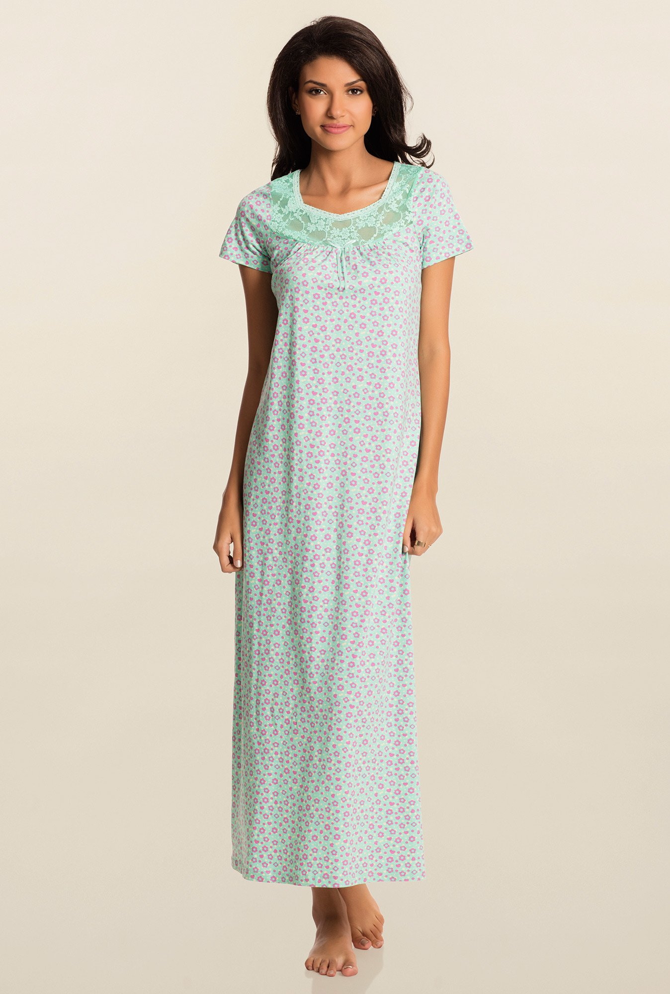 Pretty Secrets Mint Green Floral Night Dress