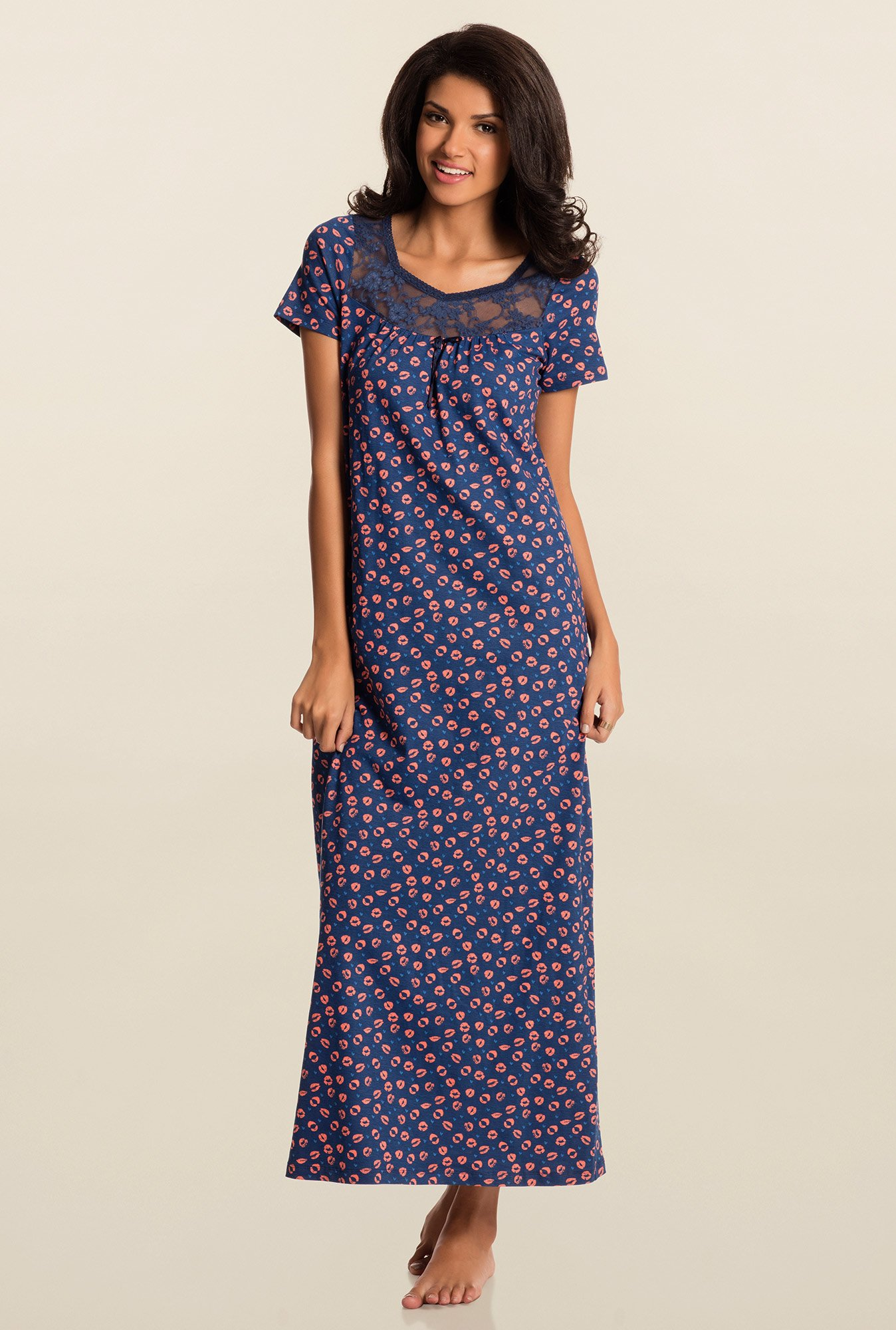 Pretty Secrets Navy Printed Night Dress
