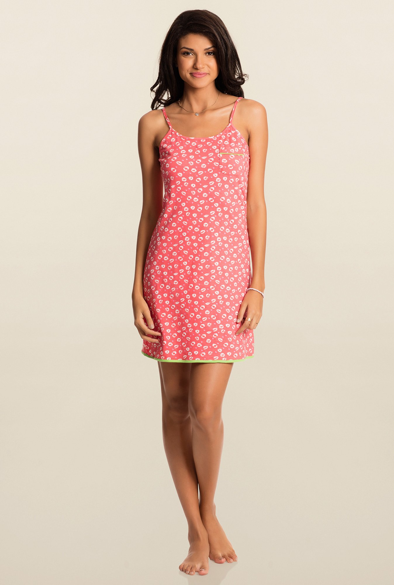 Pretty Secrets Pink Printed Chemise