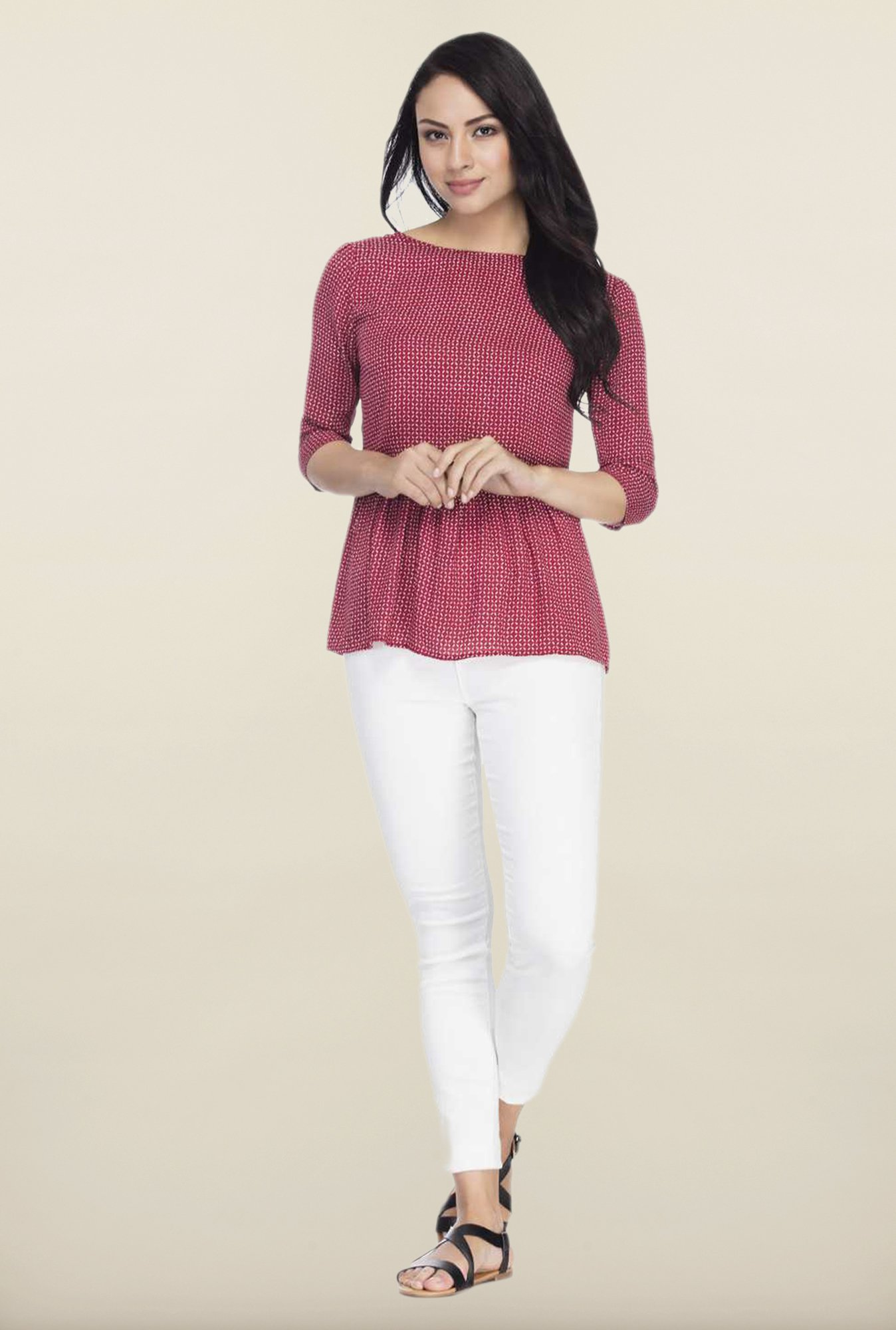 Femella Maroon Printed Gathered Top