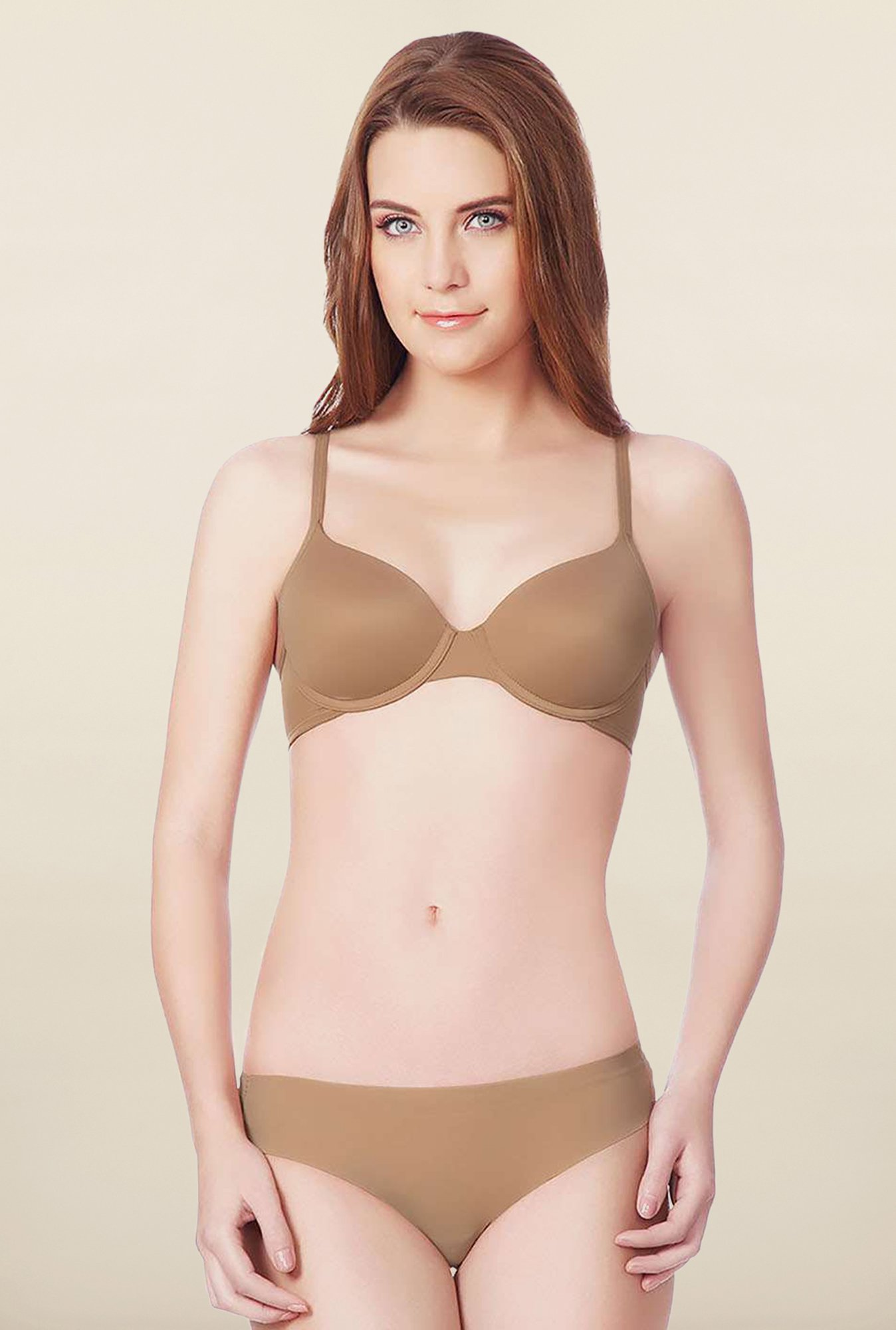 Amante Tan Padded Under-Wired Seamless Bra