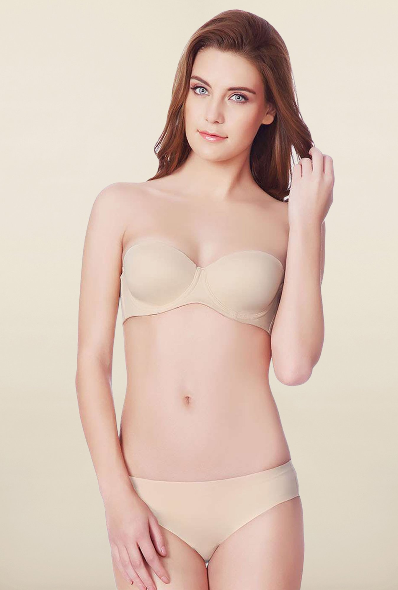 Amante Beige Padded Under-Wired Convertible Bra