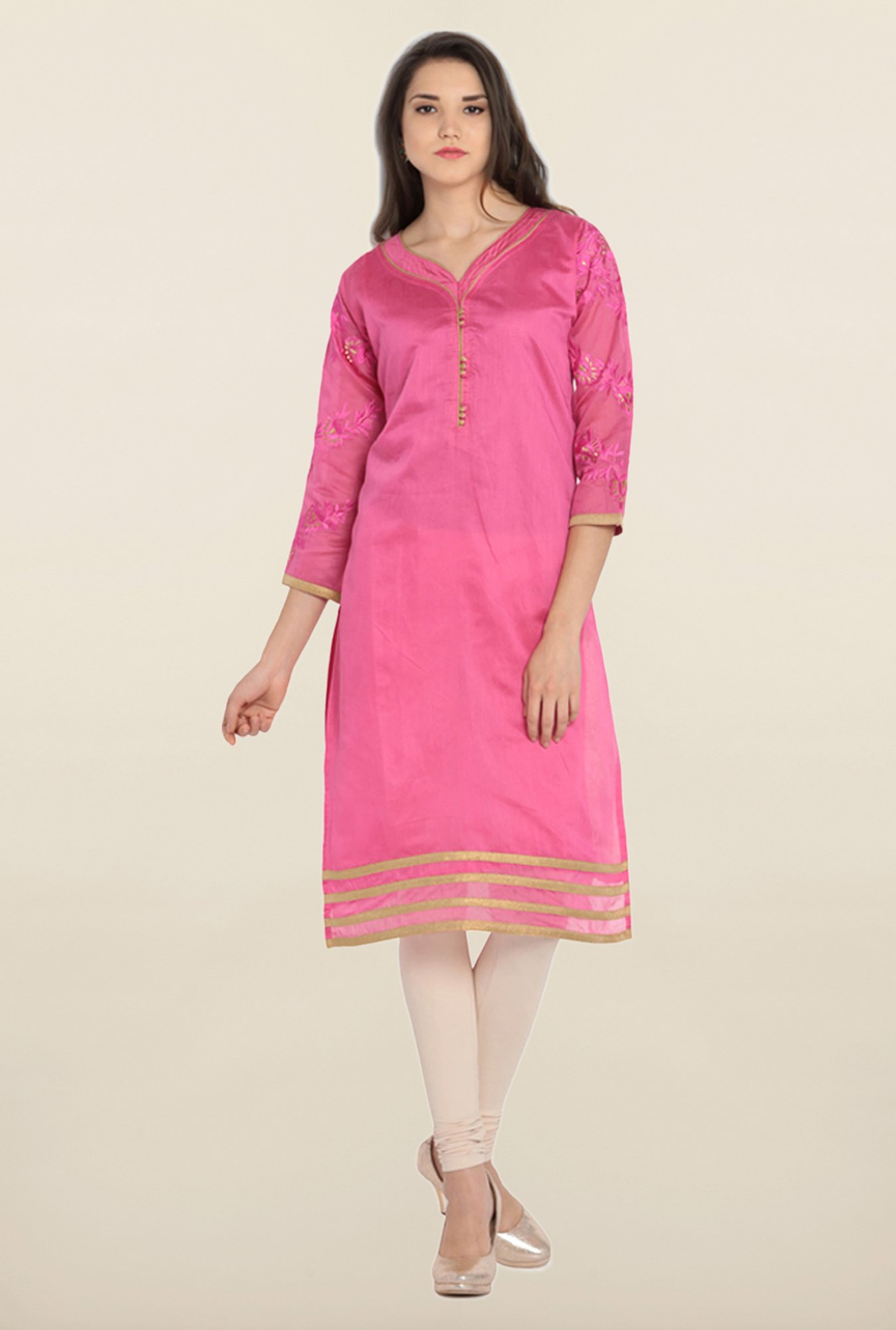 Soch Pink & Gold Embroidered Kurta