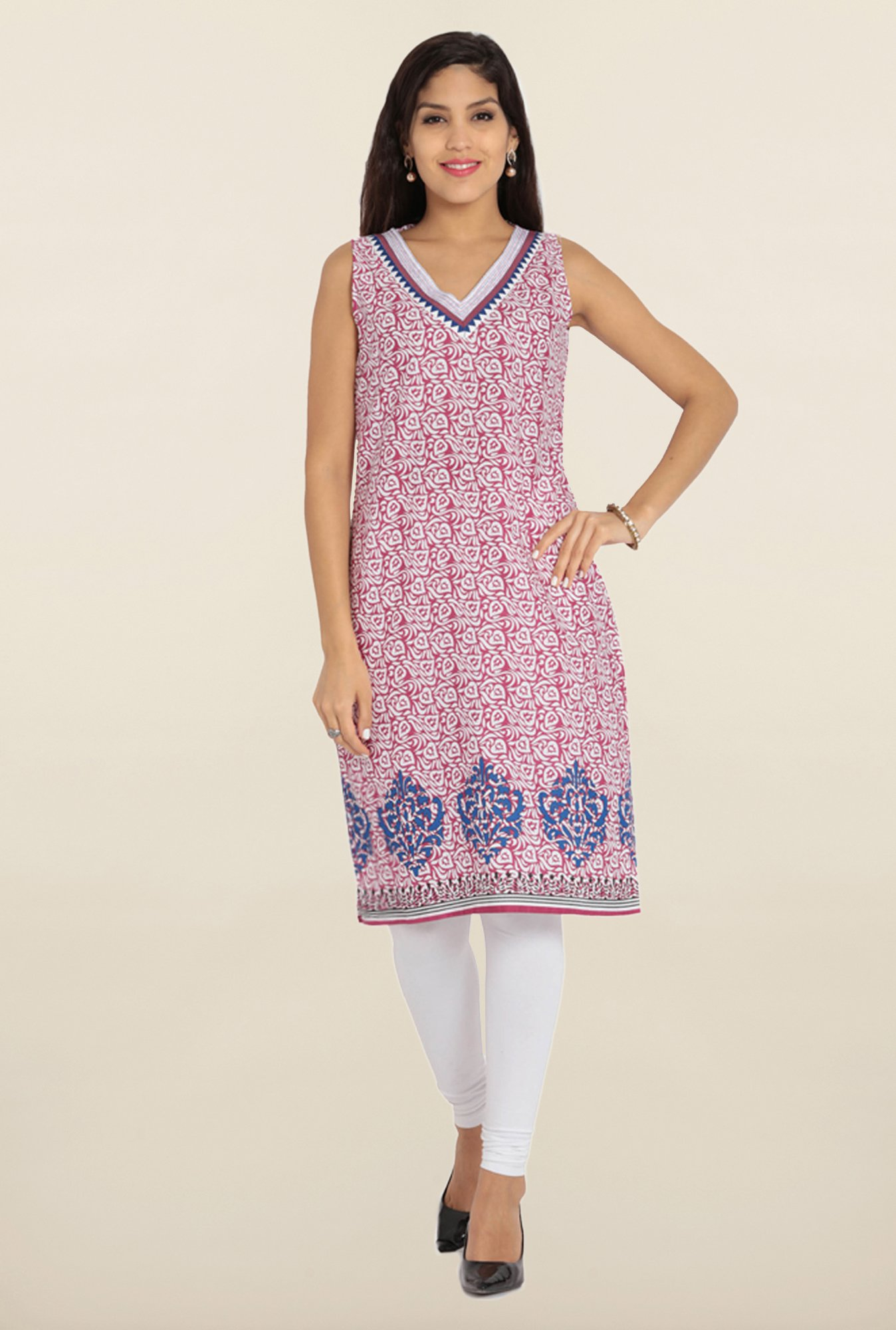 Soch Purple & White Printed Cotton Kurta