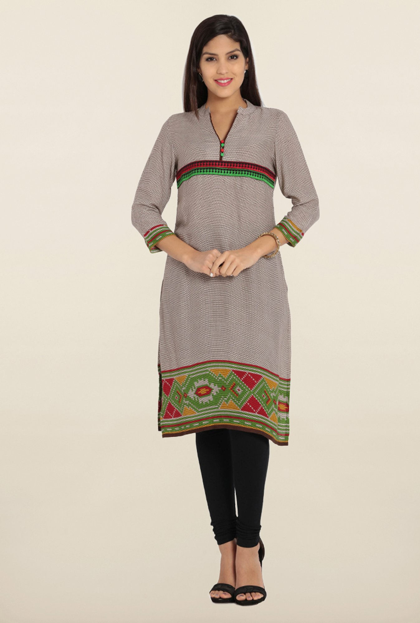 Soch Brown & Green Printed Kurta