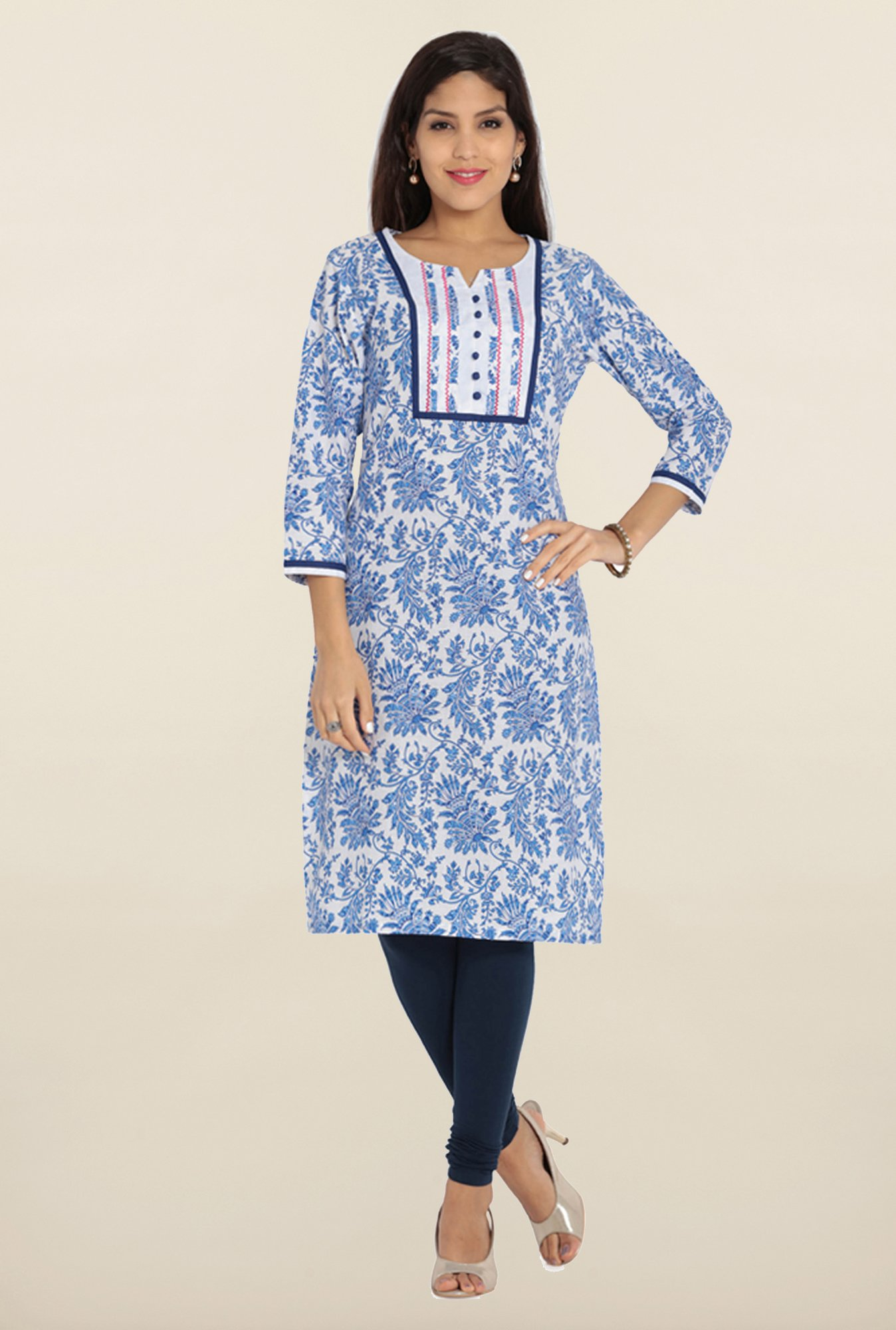 Soch Royal Blue & White Floral Printed Kurta
