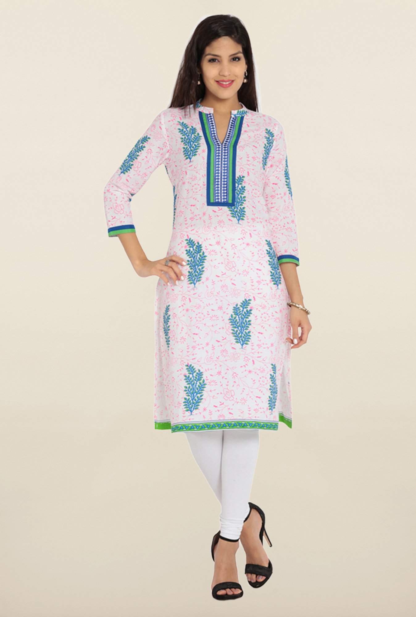 Soch White & Pink Printed Cotton Kurta