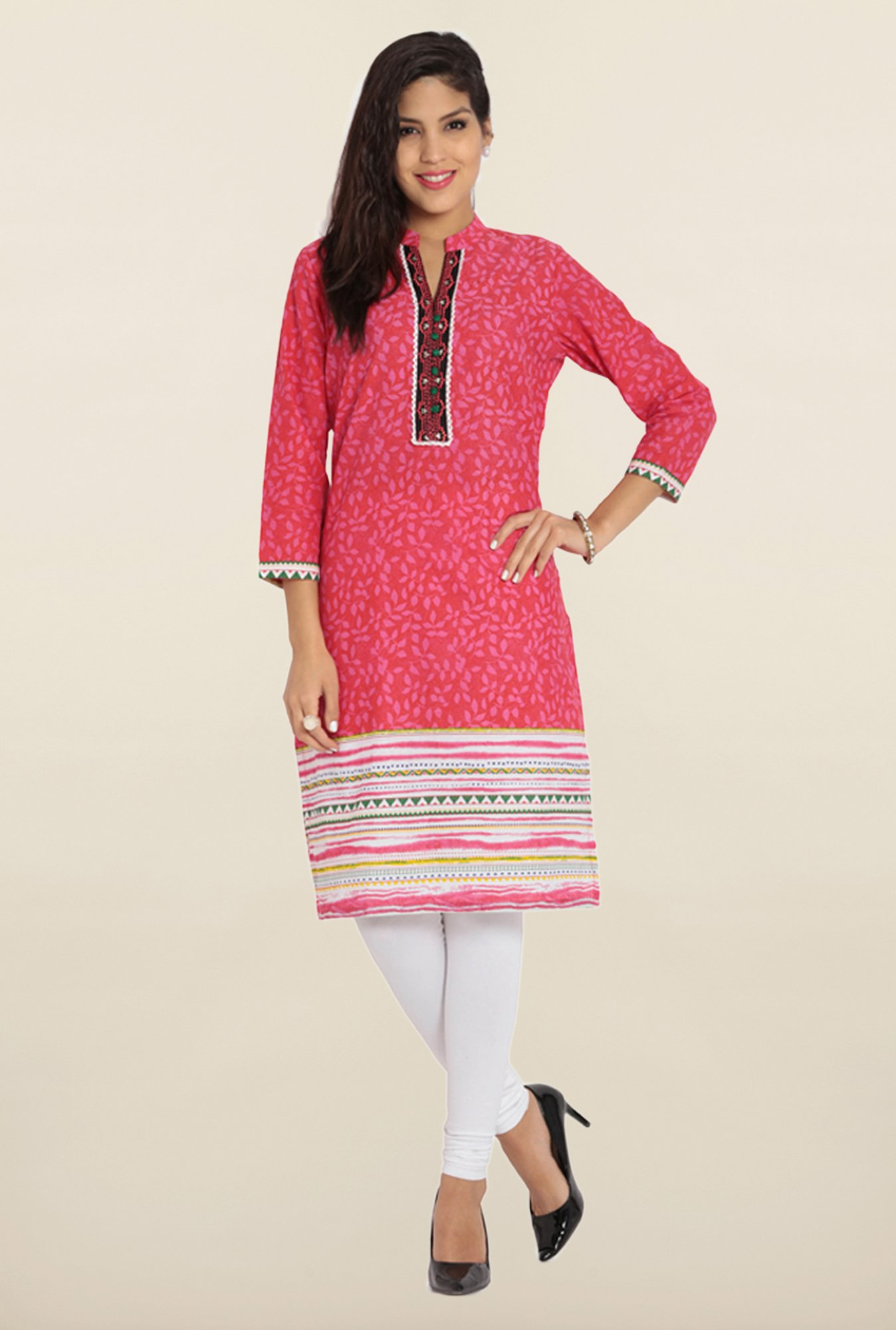Soch Dark Pink Printed Cotton Kurta
