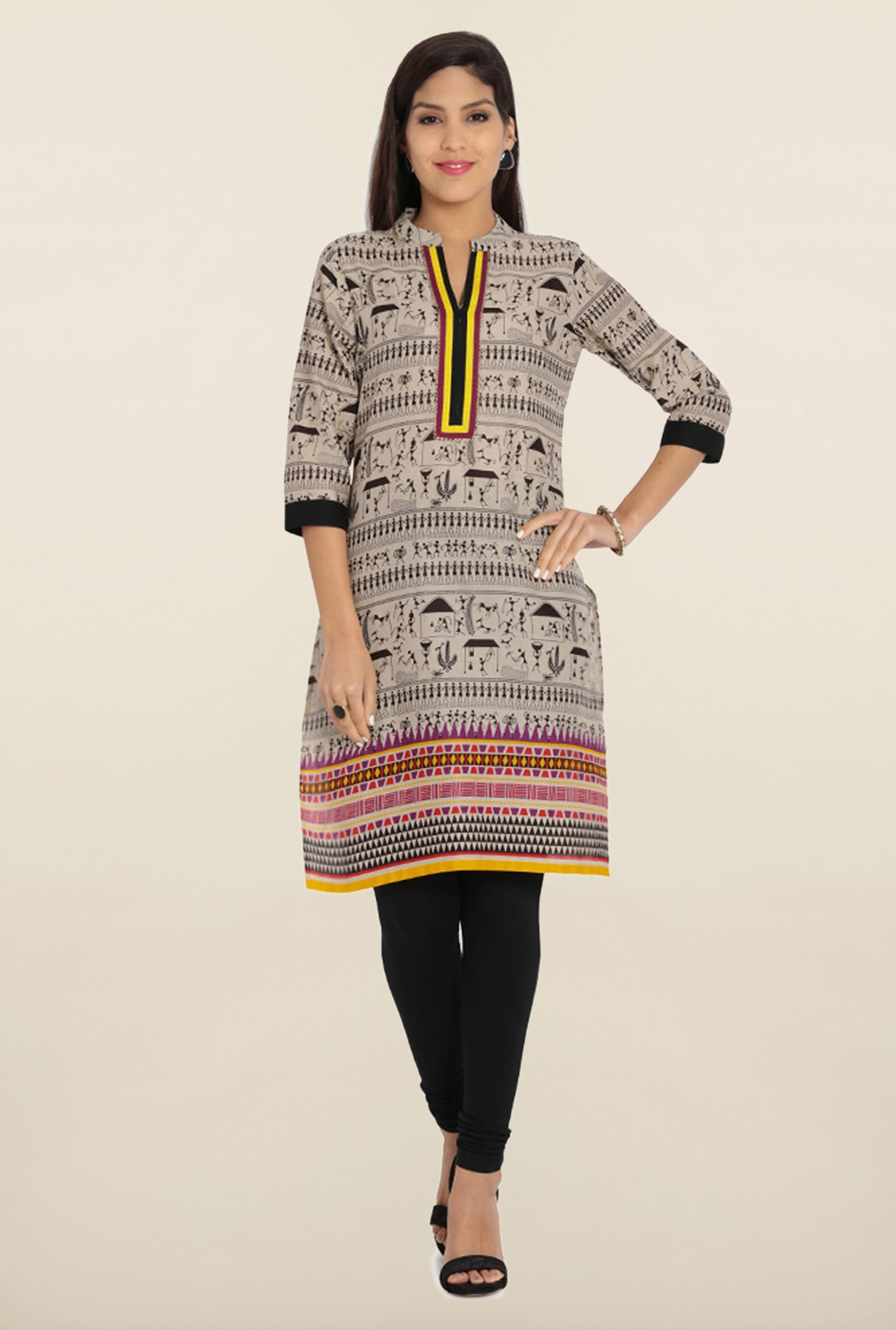 Soch Beige & Black Cotton Kurta