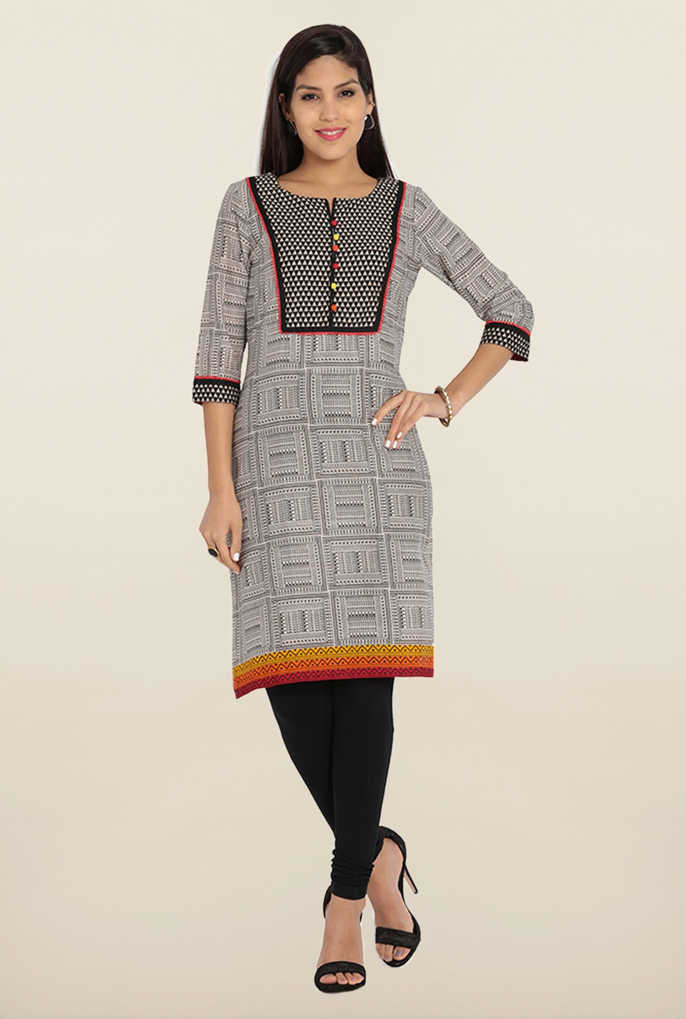 Soch White & Black Printed Cotton Kurta