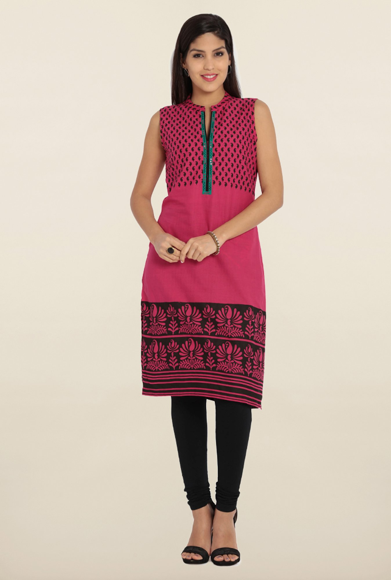 Soch Pink & Black Printed Cotton Kurta
