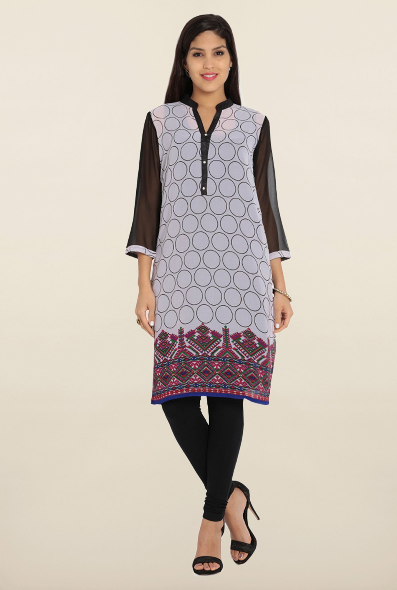 Soch White & Black Printed Georgette Kurta