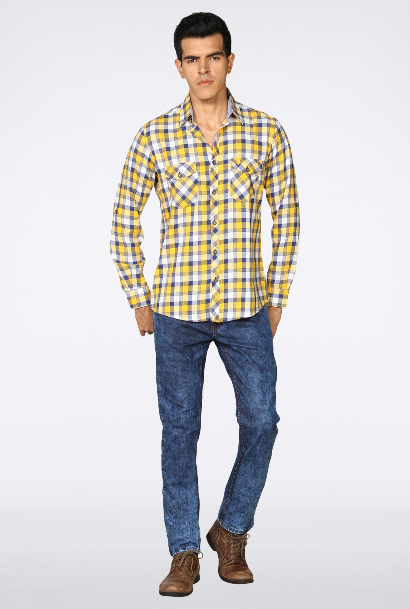 Provogue Yellow Checked Casual Shirt