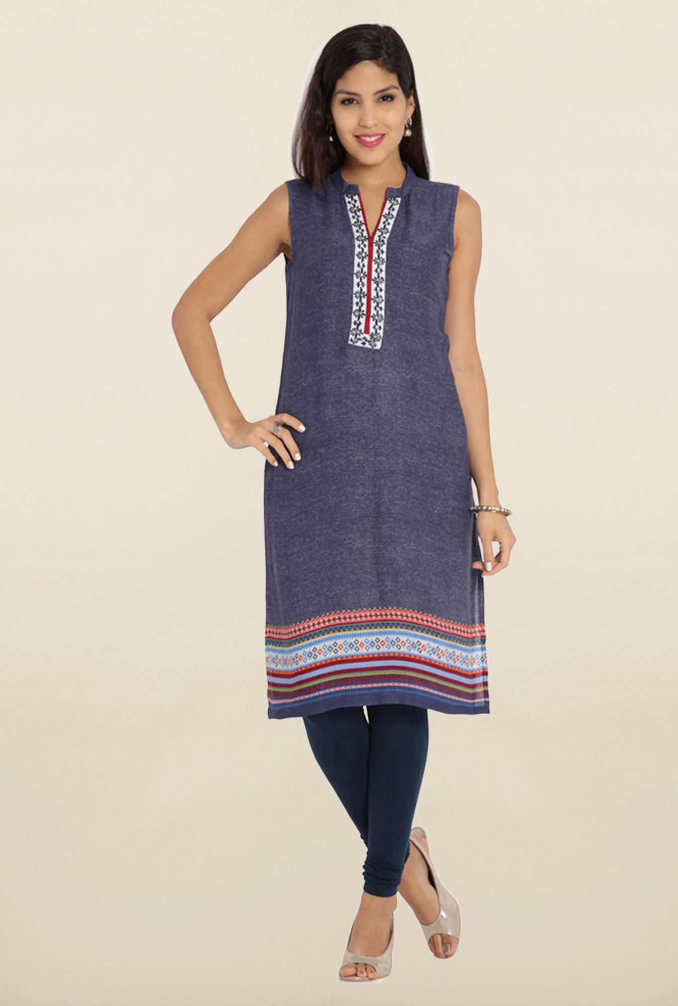 Soch Blue & White Embroidered Kurta