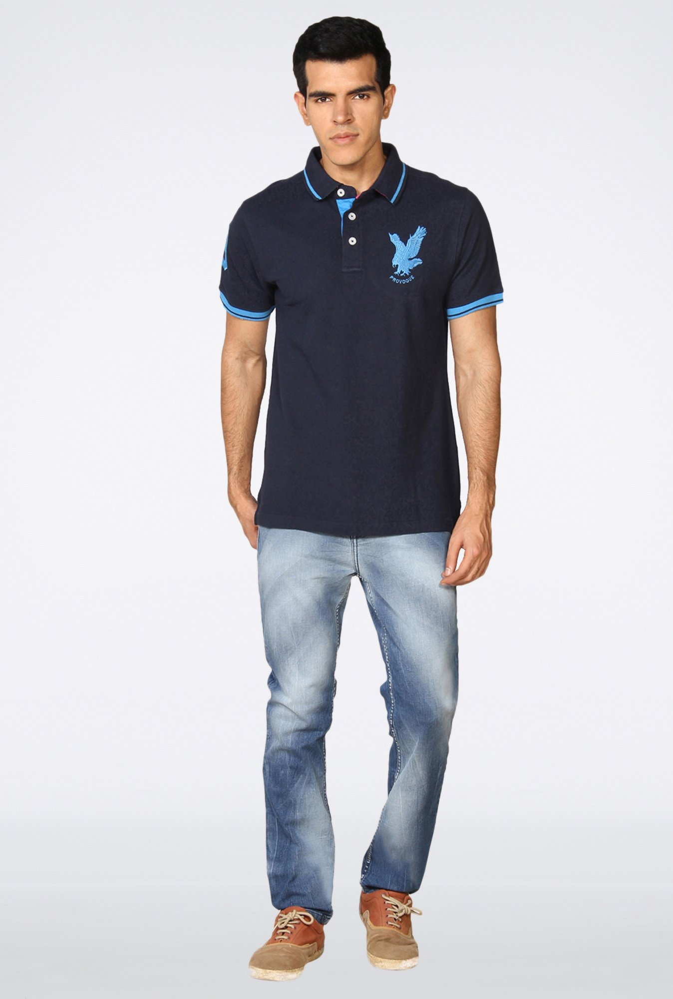 Provogue Navy Solid Polo T-Shirt