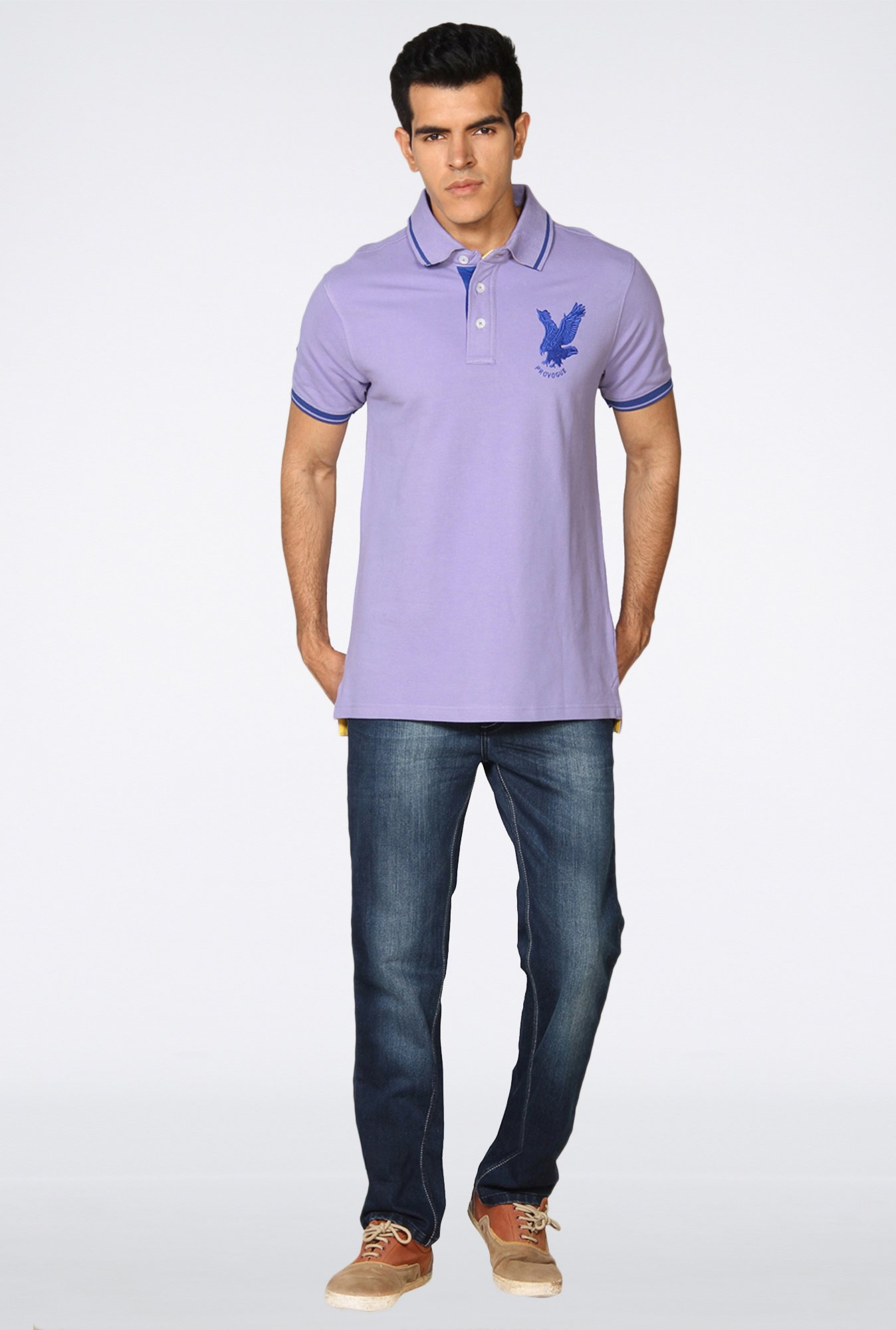 Provogue Lavender Solid Polo T-Shirt