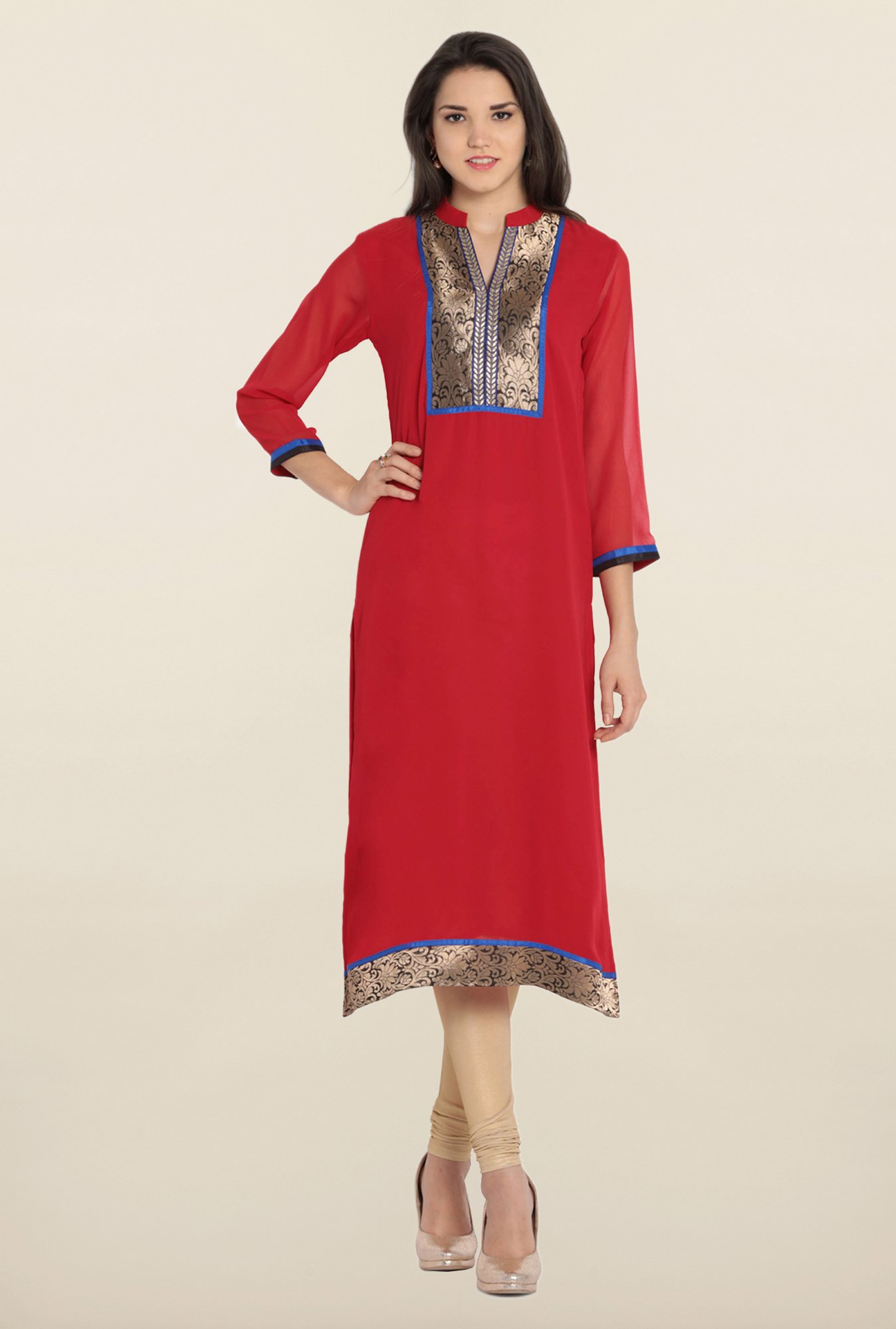 Soch Red & Gold Solid Kurta