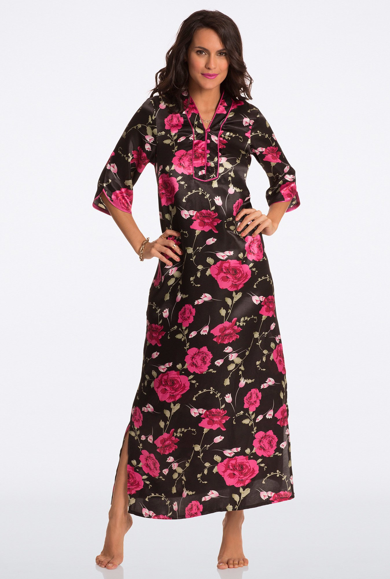Pretty Secrets Black Floral Print Night Gown
