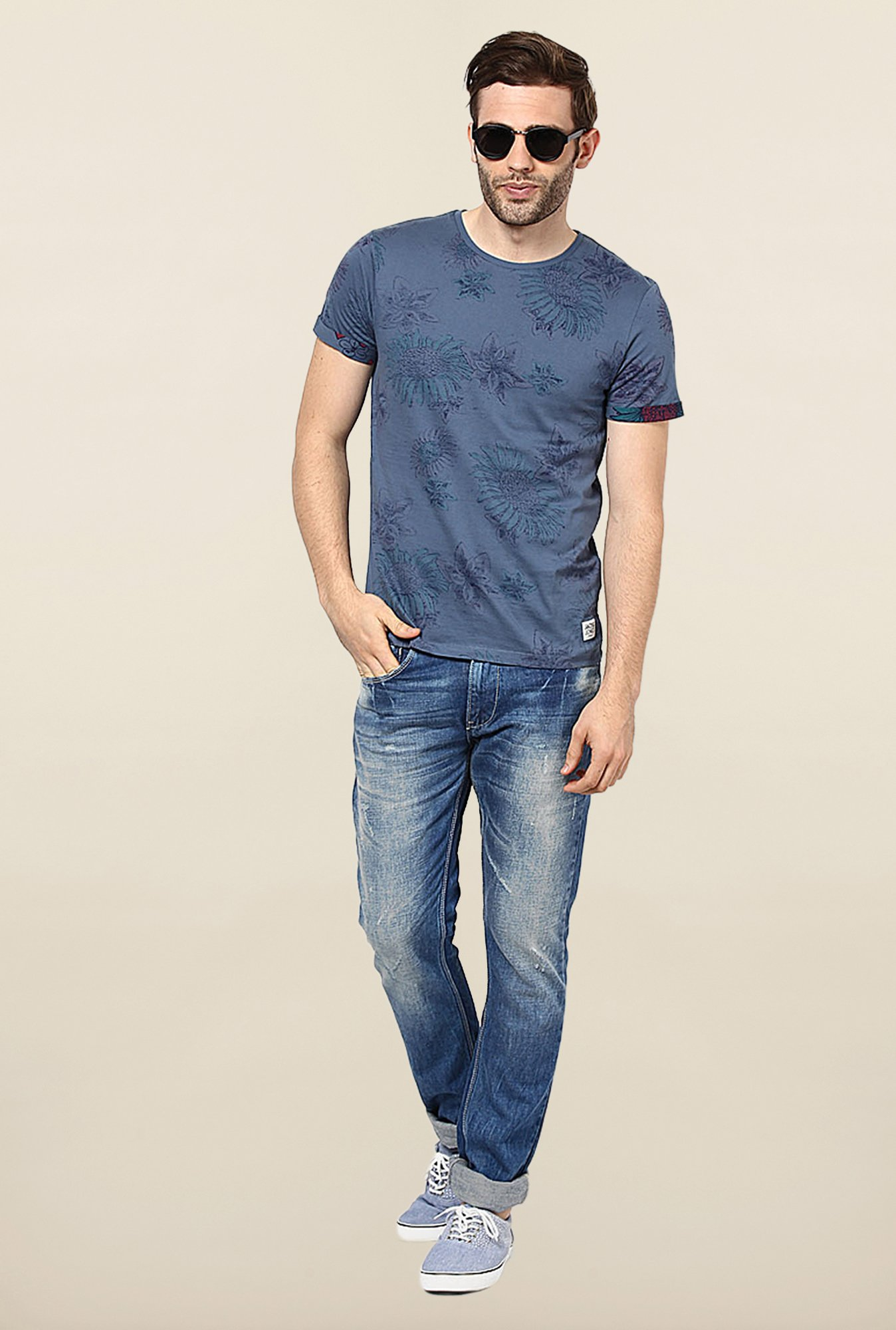 Jack & Jones Blue Floral Printed T-Shirt
