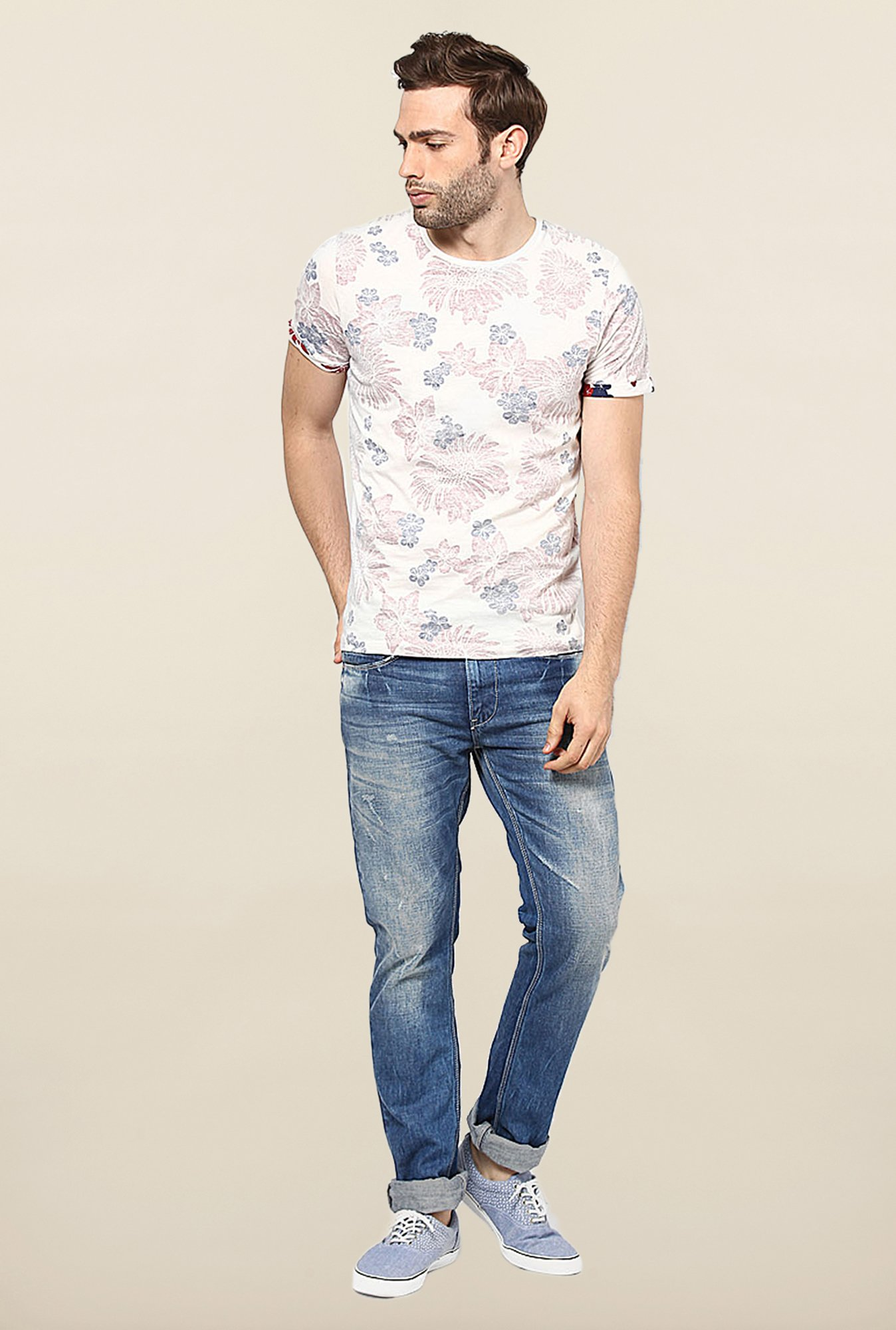 Jack & Jones White Floral Printed T-Shirt