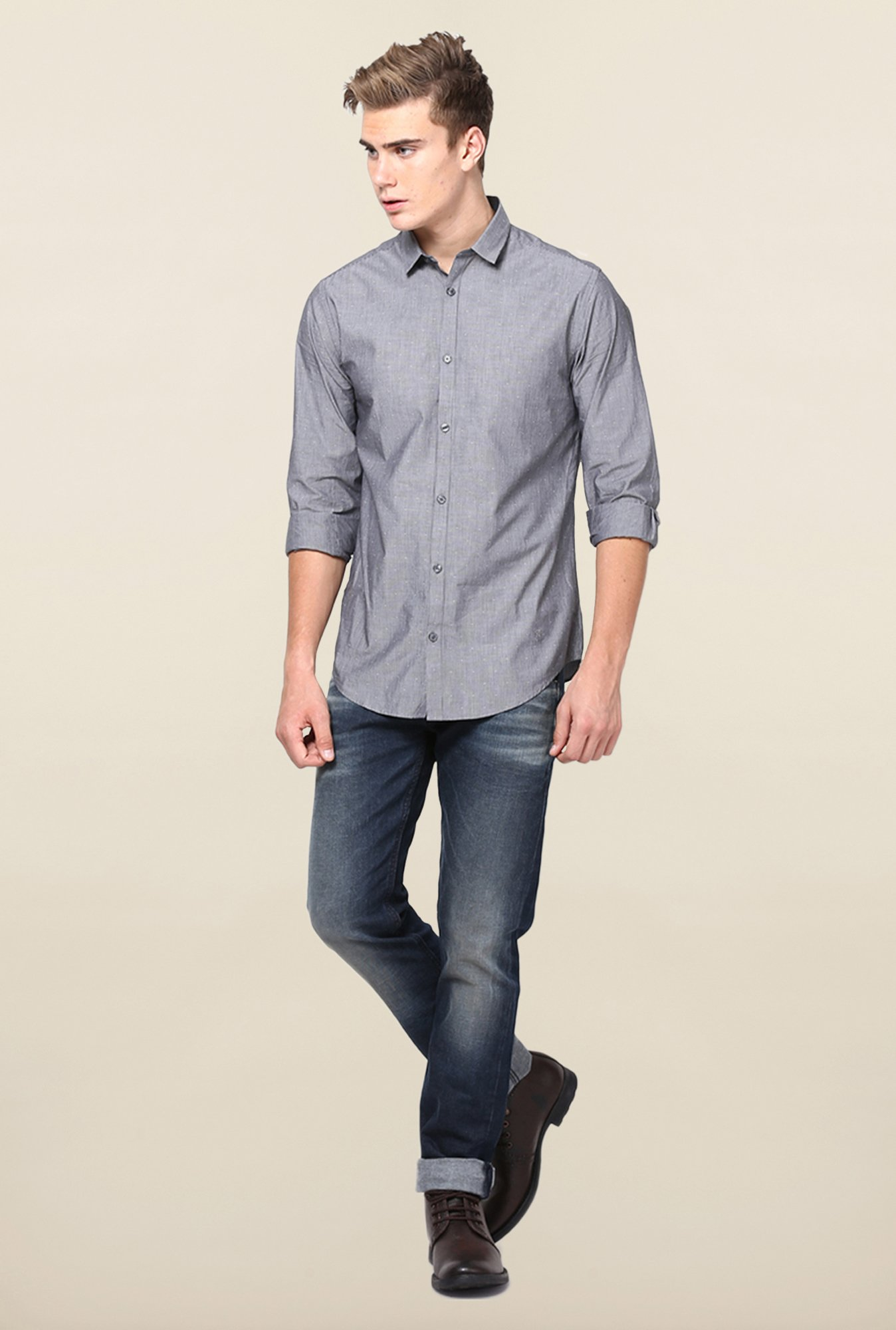 Jack & Jones Grey Pin Stripes Casual Shirt