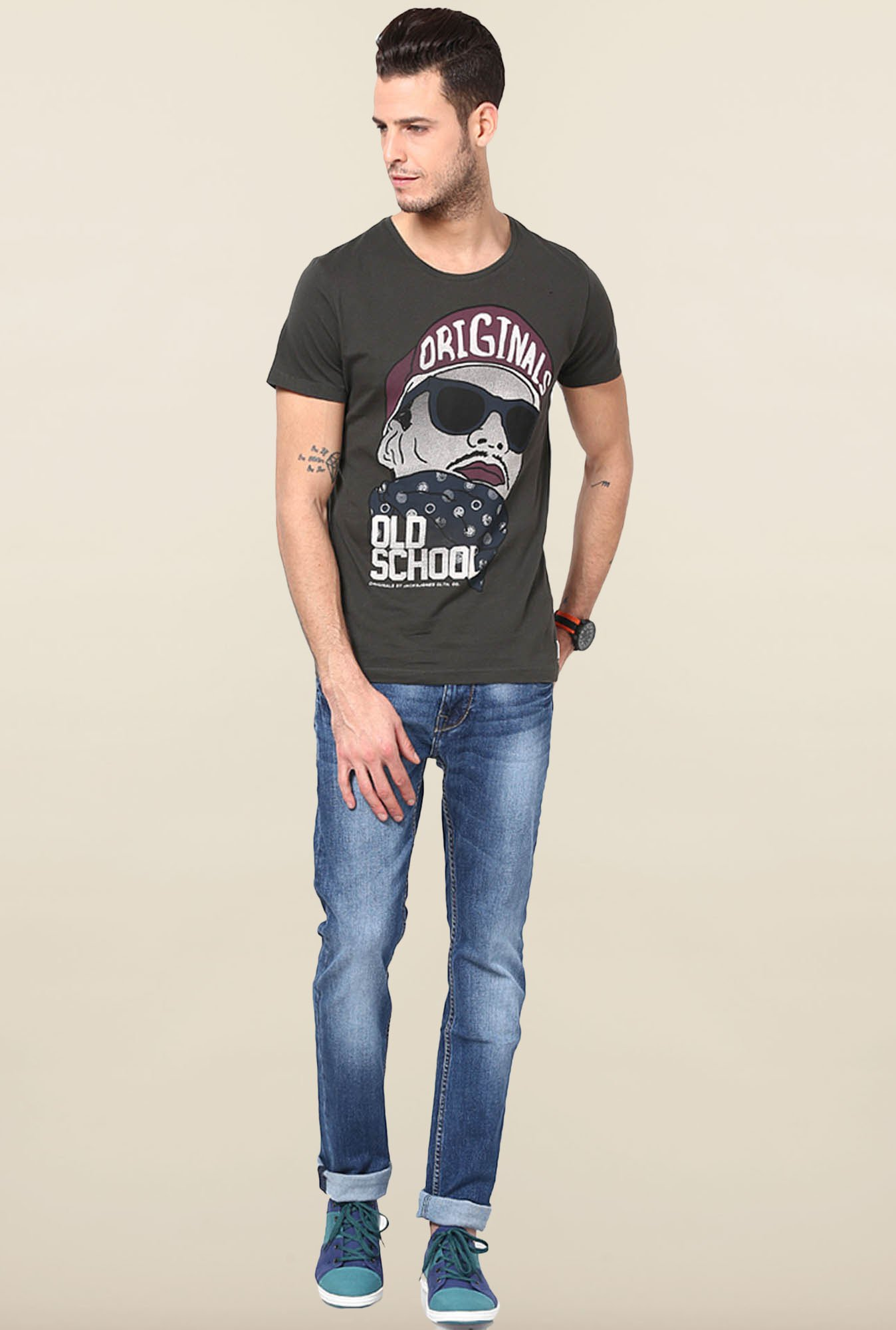 Jack & Jones Black Printed Slim Fit T-Shirt