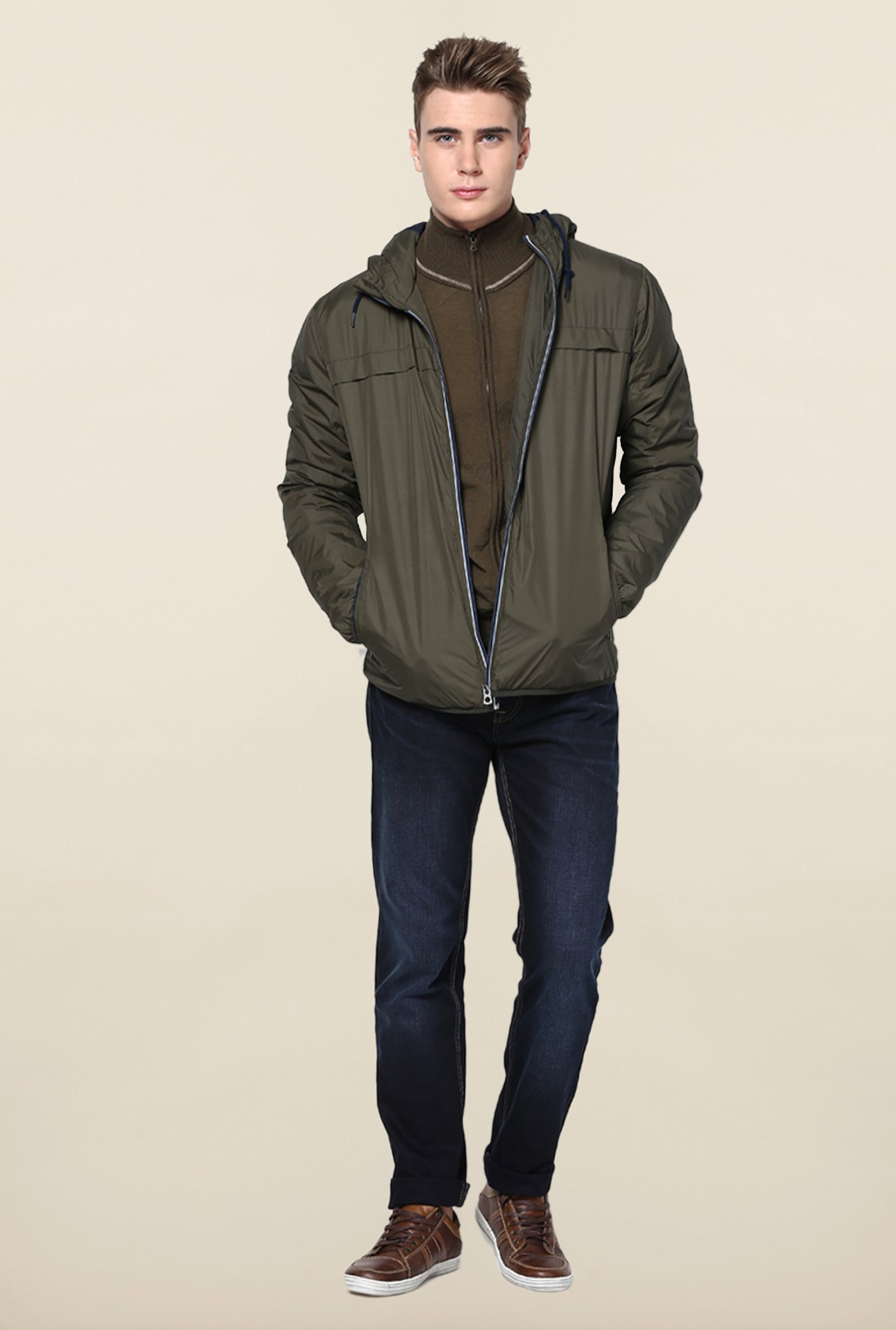 Jack & Jones Olive Hooded Jacket